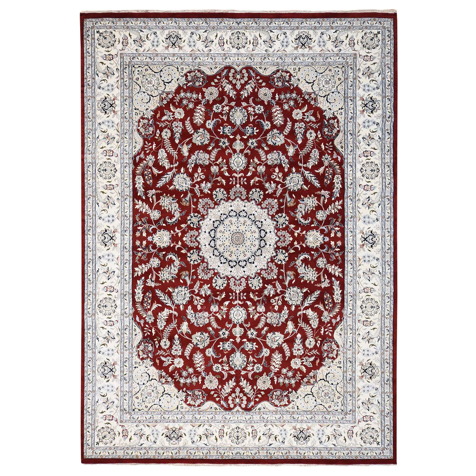 "10'x14'2"" Wool And Silk Red Nain 250 KPSI Hand knotted Oriental Rug"