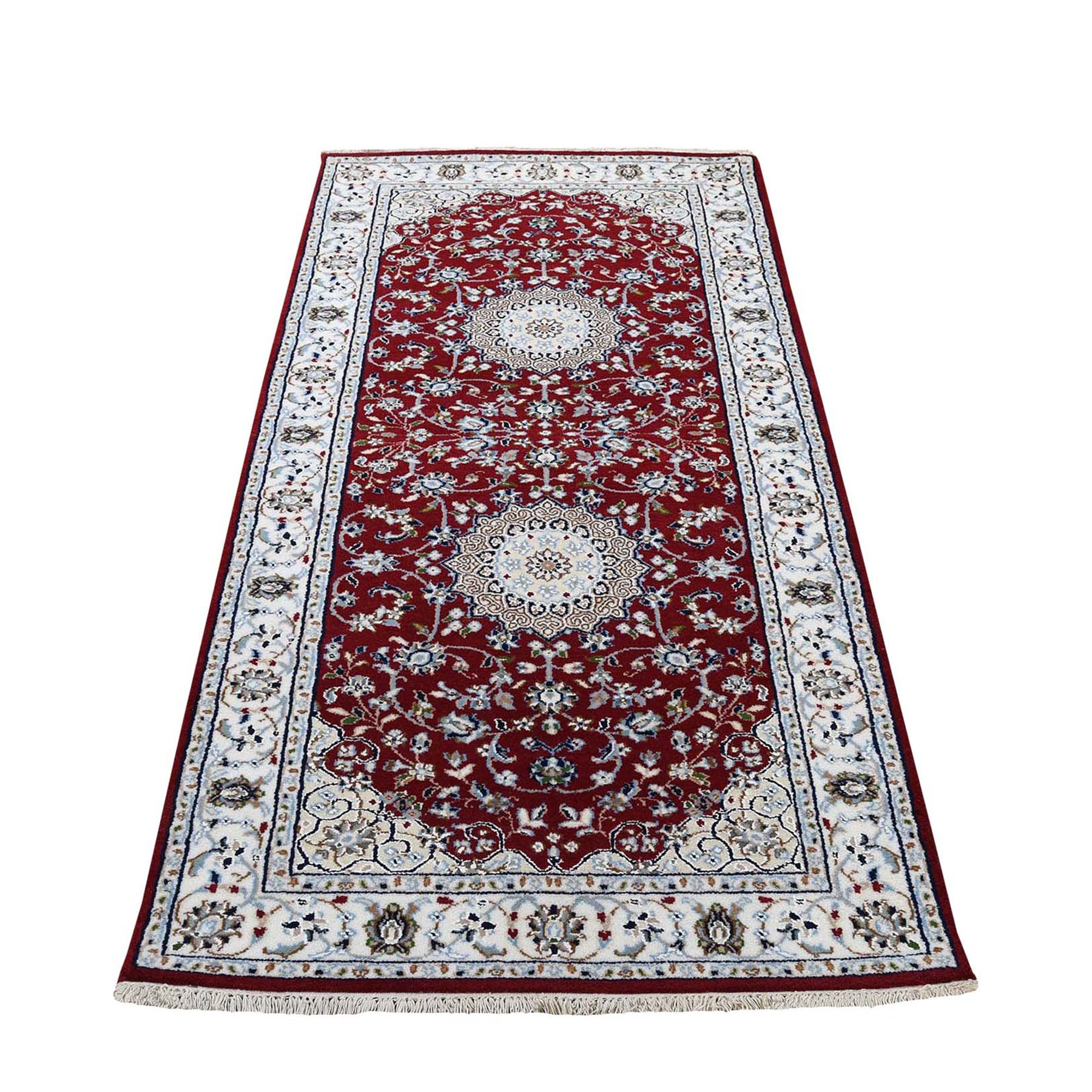 "2'7""X6' Red Runner Nain Wool And Silk 250 Kpsi Hand Knotted Oriental Rug moad7709"