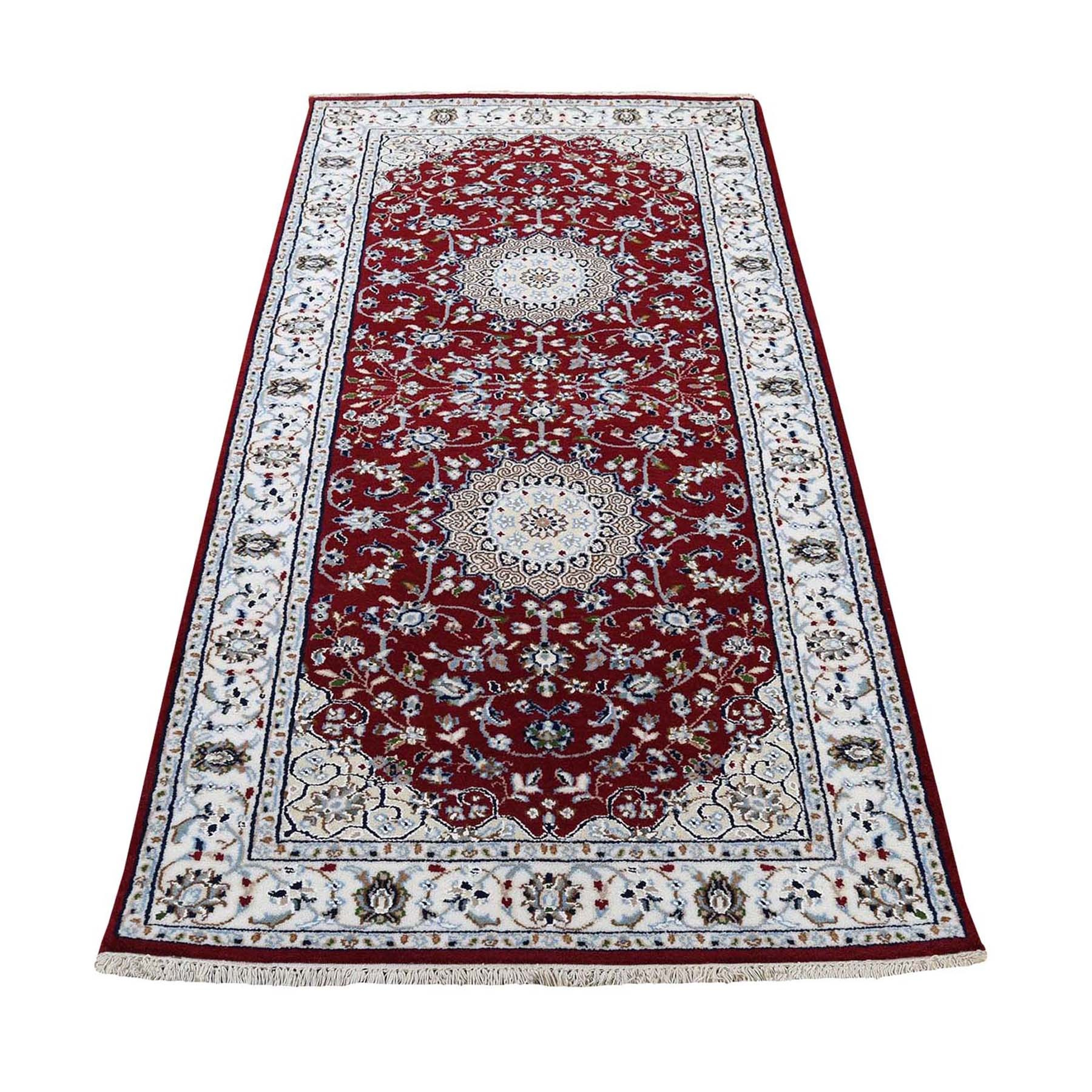 "2'7""x6' Red Runner Nain Wool And Silk 250 KPSI Hand Knotted Oriental Rug"