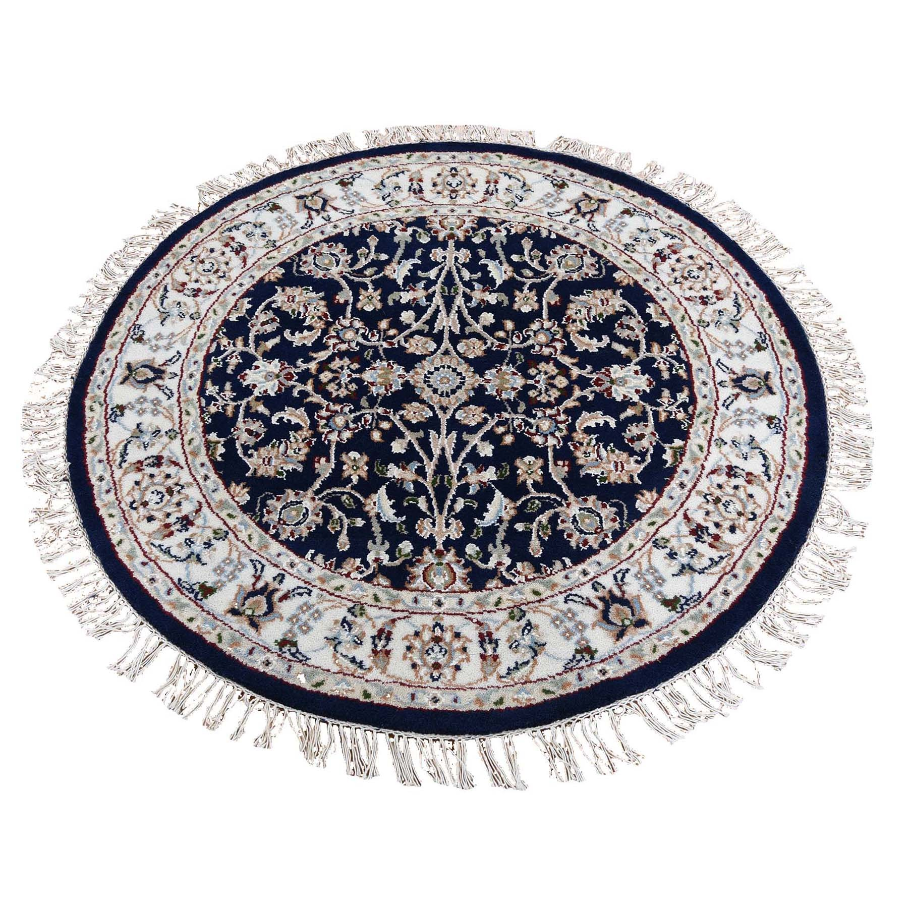 4'x4' Blue Round Nain Wool And Silk All Over Design 250 KPSI Hand Knotted Oriental Rug