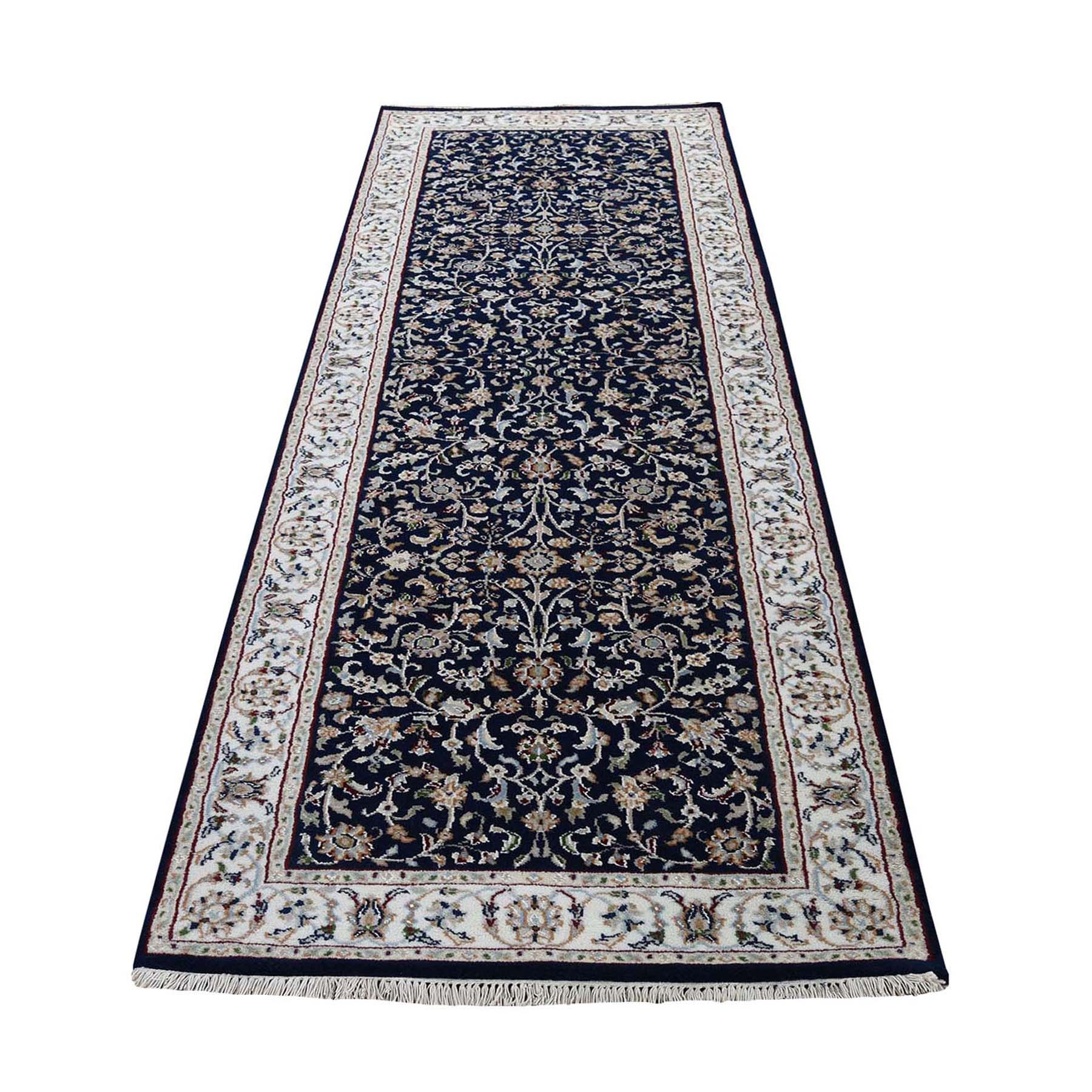 "2'6""X7'8"" Blue Runner Nain Wool And Silk All Over Design 250 Kpsi Hand Knotted Oriental Rug moad77ac"