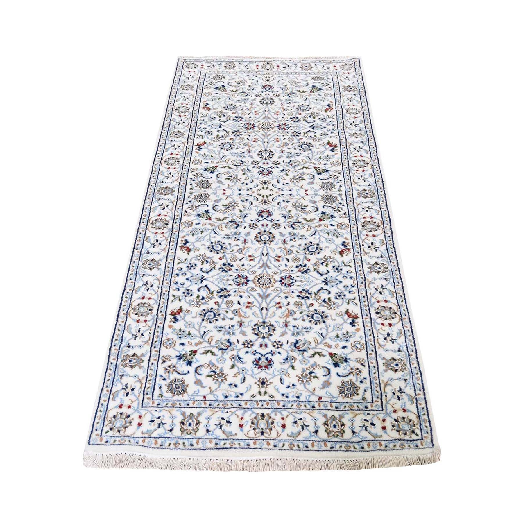 "2'9""X6'2"" Ivory Runner Nain Wool And Silk All Over Design 250 Kpsi Hand Knotted Oriental Rug moad77a6"