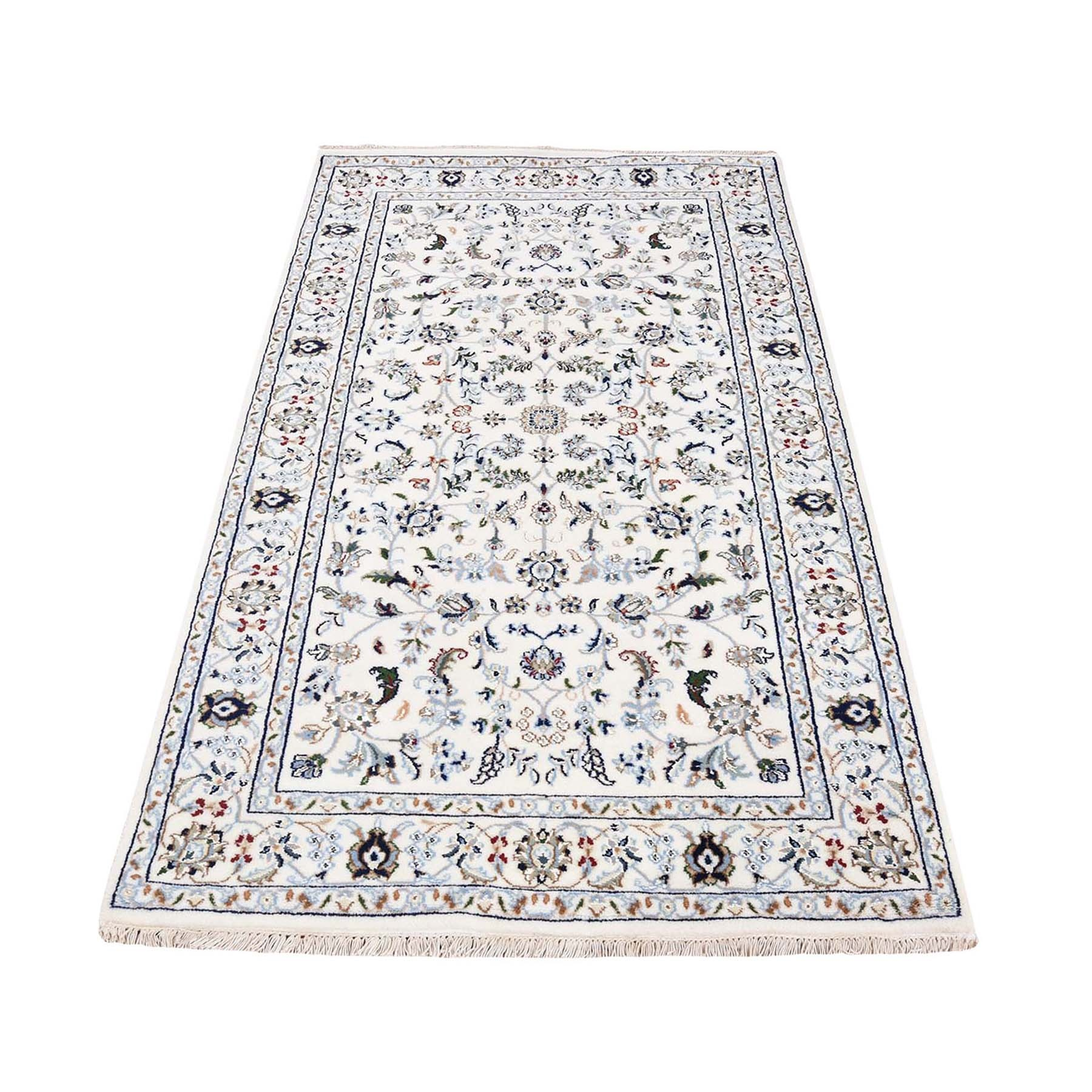 "3'1""X5'3"" Ivory Nain Wool And Silk All Over Design 250 Kpsi Hand Knotted Oriental Rug moad77a7"