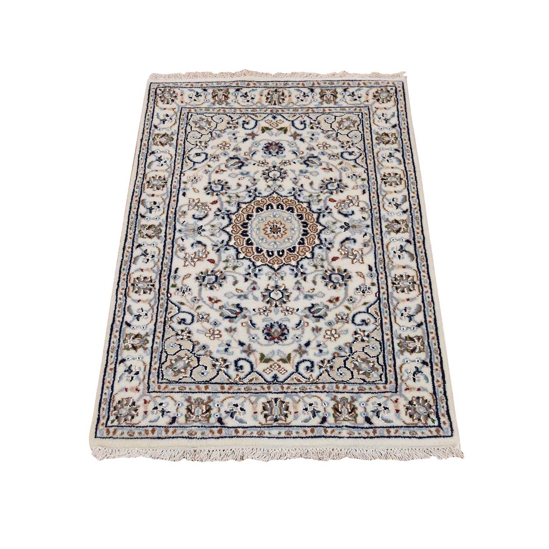2'X3' Ivory Nain Wool And Silk 250 Kpsi Hand Knotted Oriental Rug moad77a8