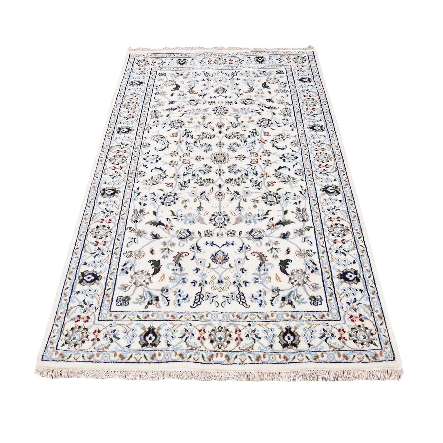 "3'1""X5'1"" Ivory Nain Wool And Silk All Over Design 250 Kpsi Hand Knotted Oriental Rug moad77a9"