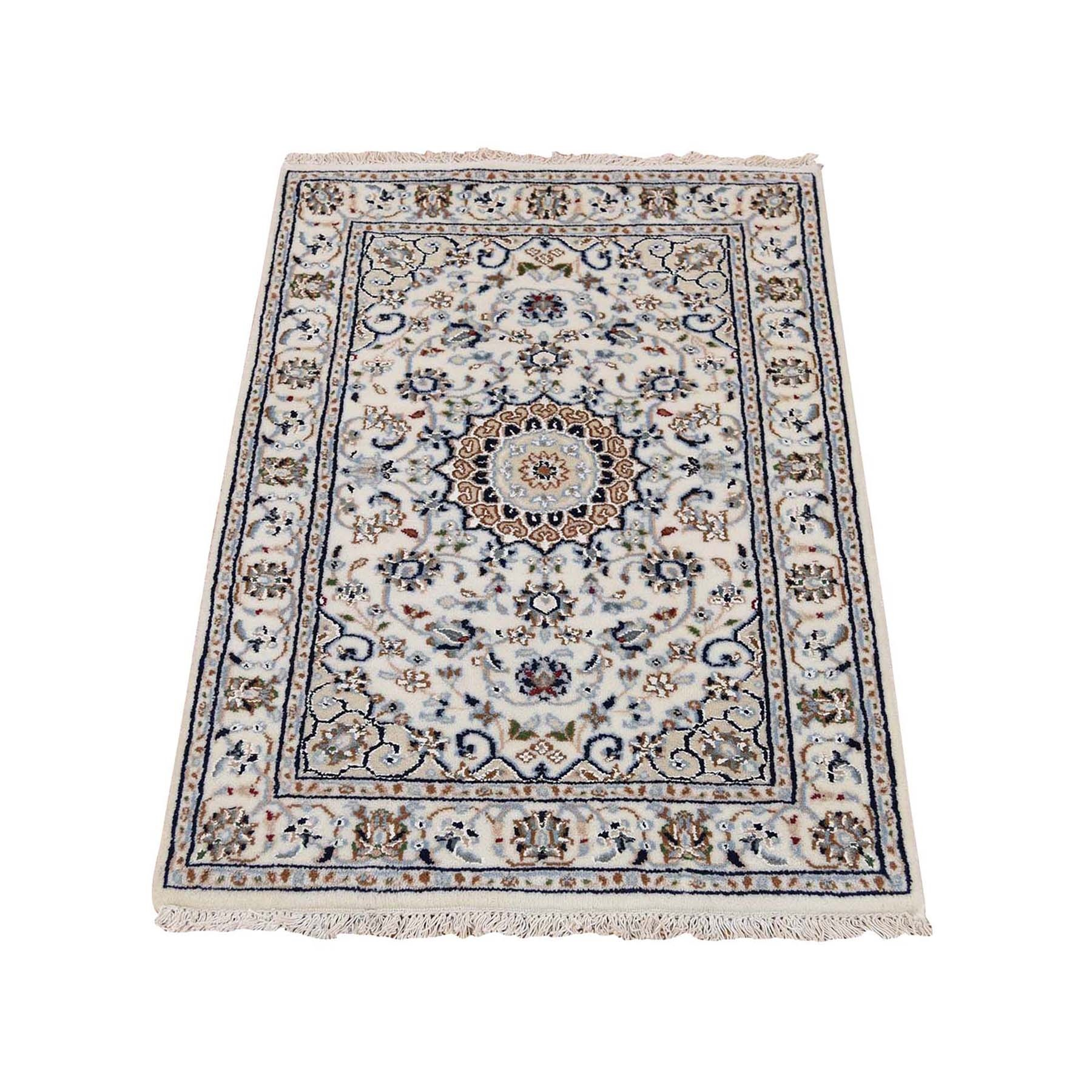 """2'1""""X3'3"""" Ivory Nain Wool And Silk 250 Kpsi Hand Knotted Oriental Rug moad77ba"""