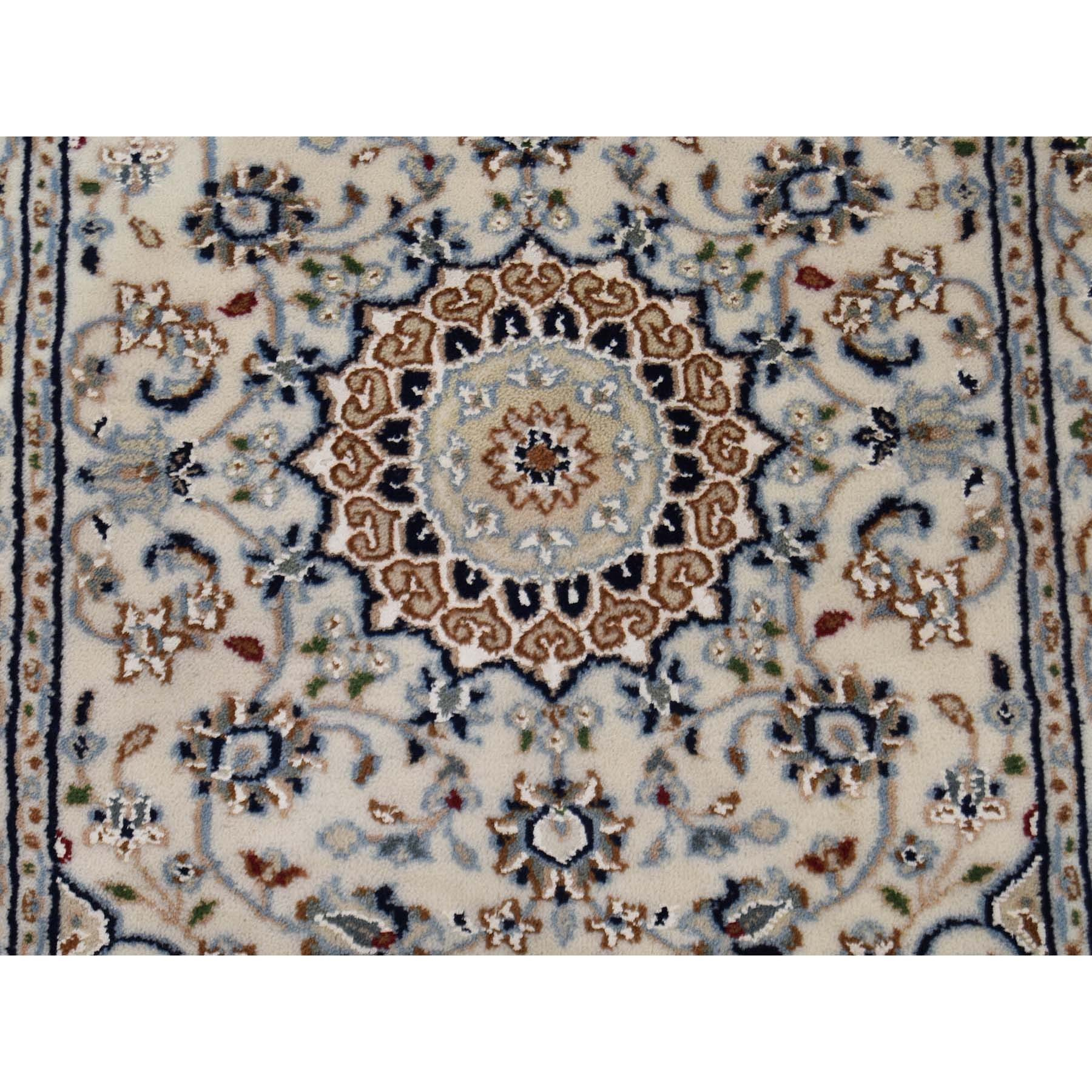 "2'1""x3'3"" Ivory Nain Wool And Silk 250 KPSI Hand Knotted Oriental Rug"