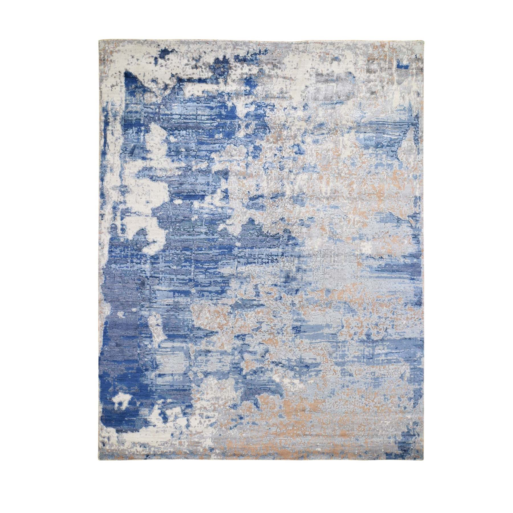 """8'3""""X9'9"""" Blue Hi-Low Pile Abstract Design Wool And Silk Hand Knotted Oriental Rug moad77b7"""