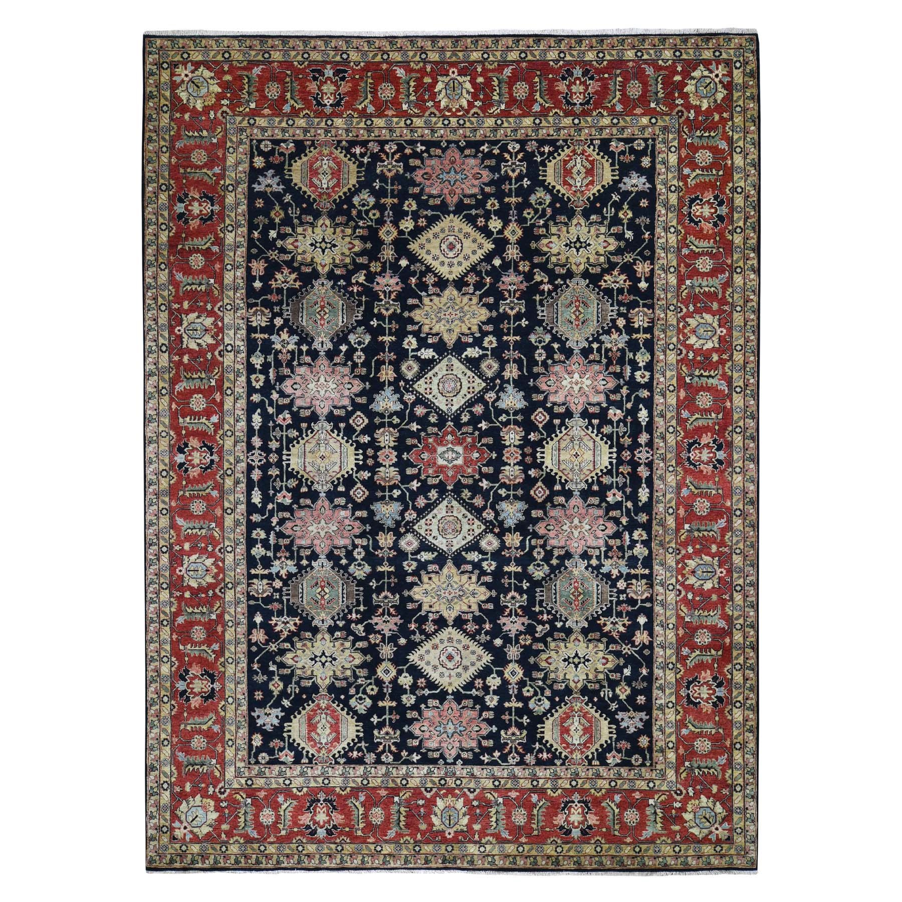 "10'1""X13'9"" Black Karajeh Design Hand Knotted Pure Wool Oriental Rug moad77c0"