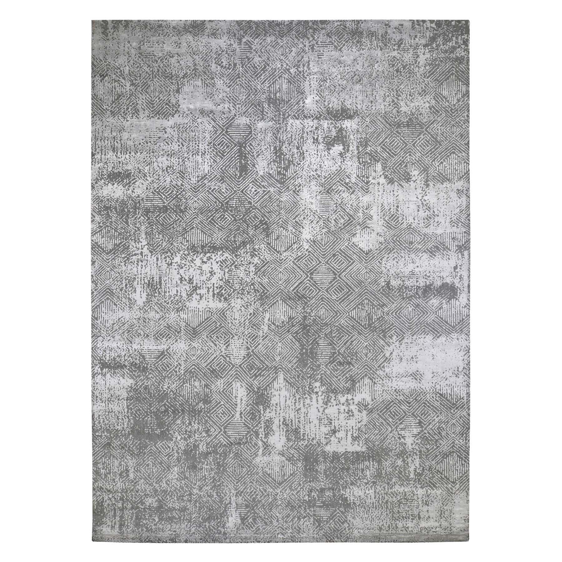 "9'10""x14'2"" Gray Erased Design Wool And Silk Hand Loomed Oriental Rug"