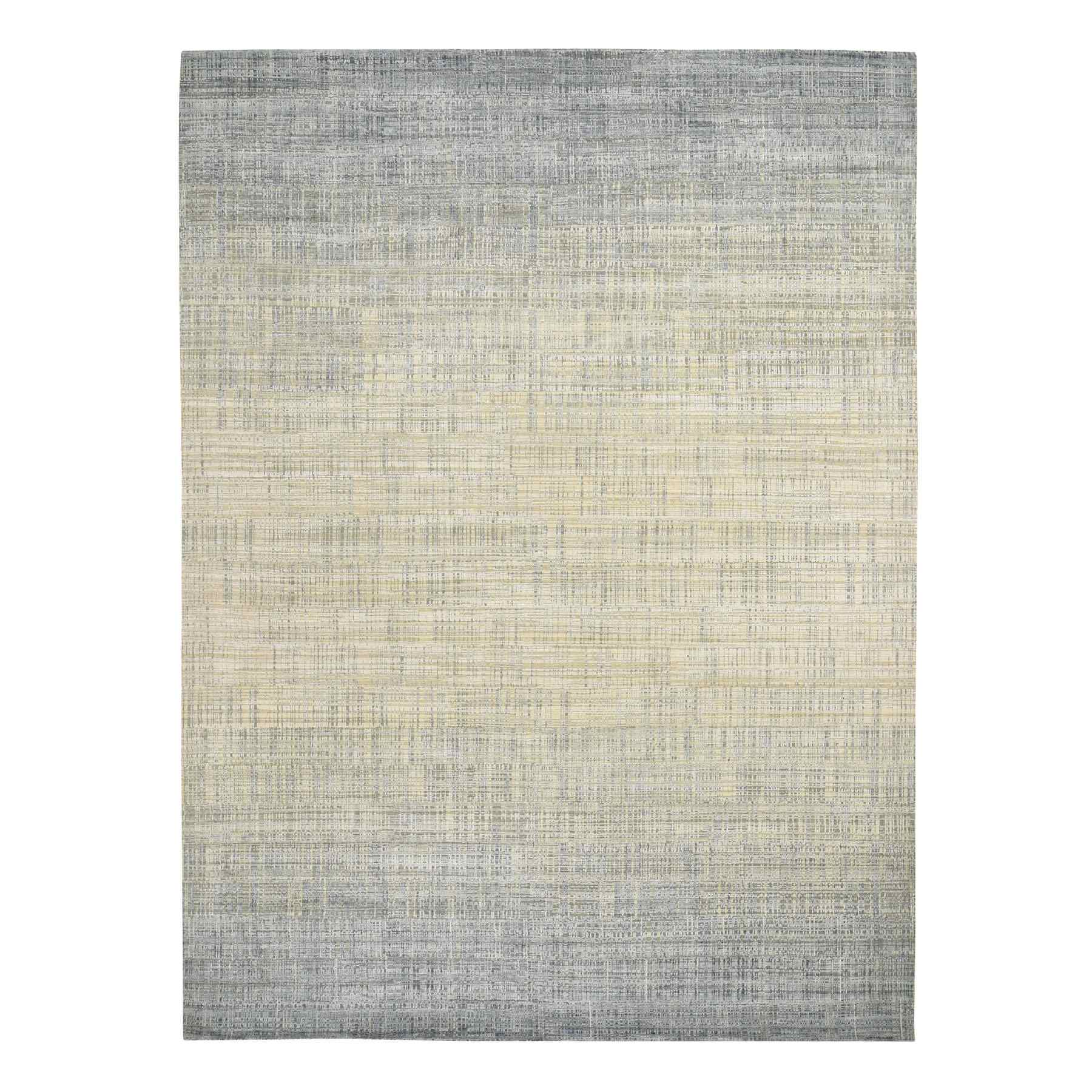 "8'10""X12'4"" Silk With Textured Wool Ombre Design Hand Knotted Oriental Rug moad77c8"