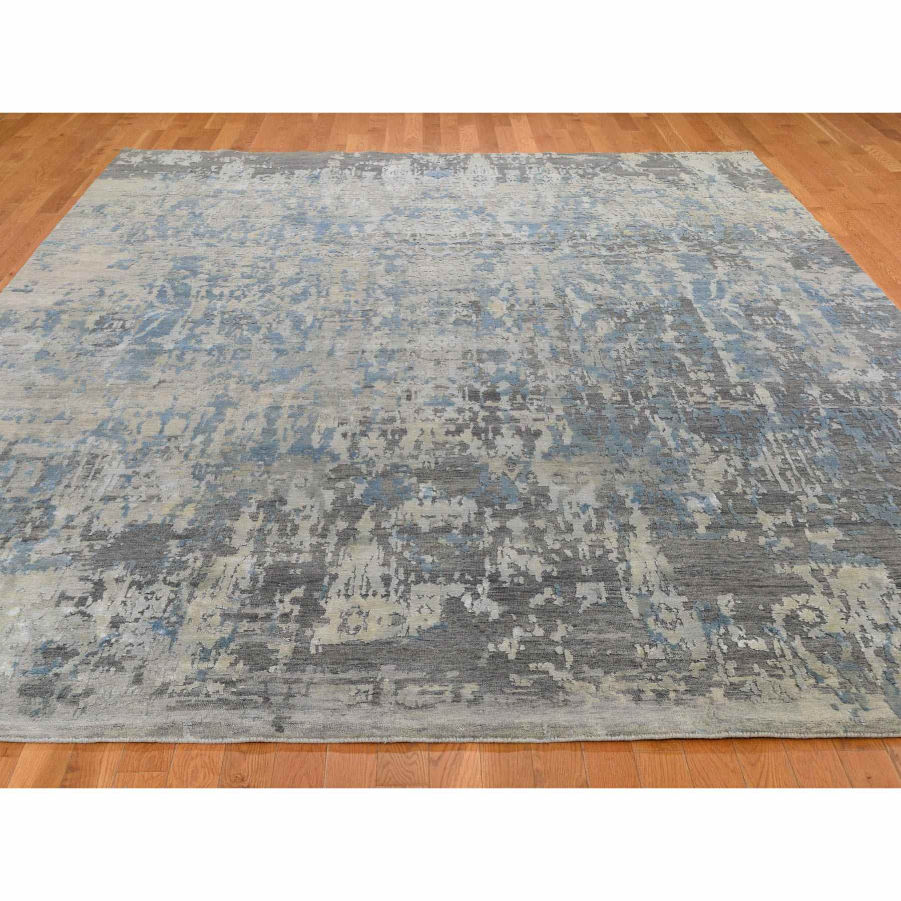 9-x11-9  Blue Abstract Design Wool And Pure Silk Denser Weave Hand Knotted Modern Rug