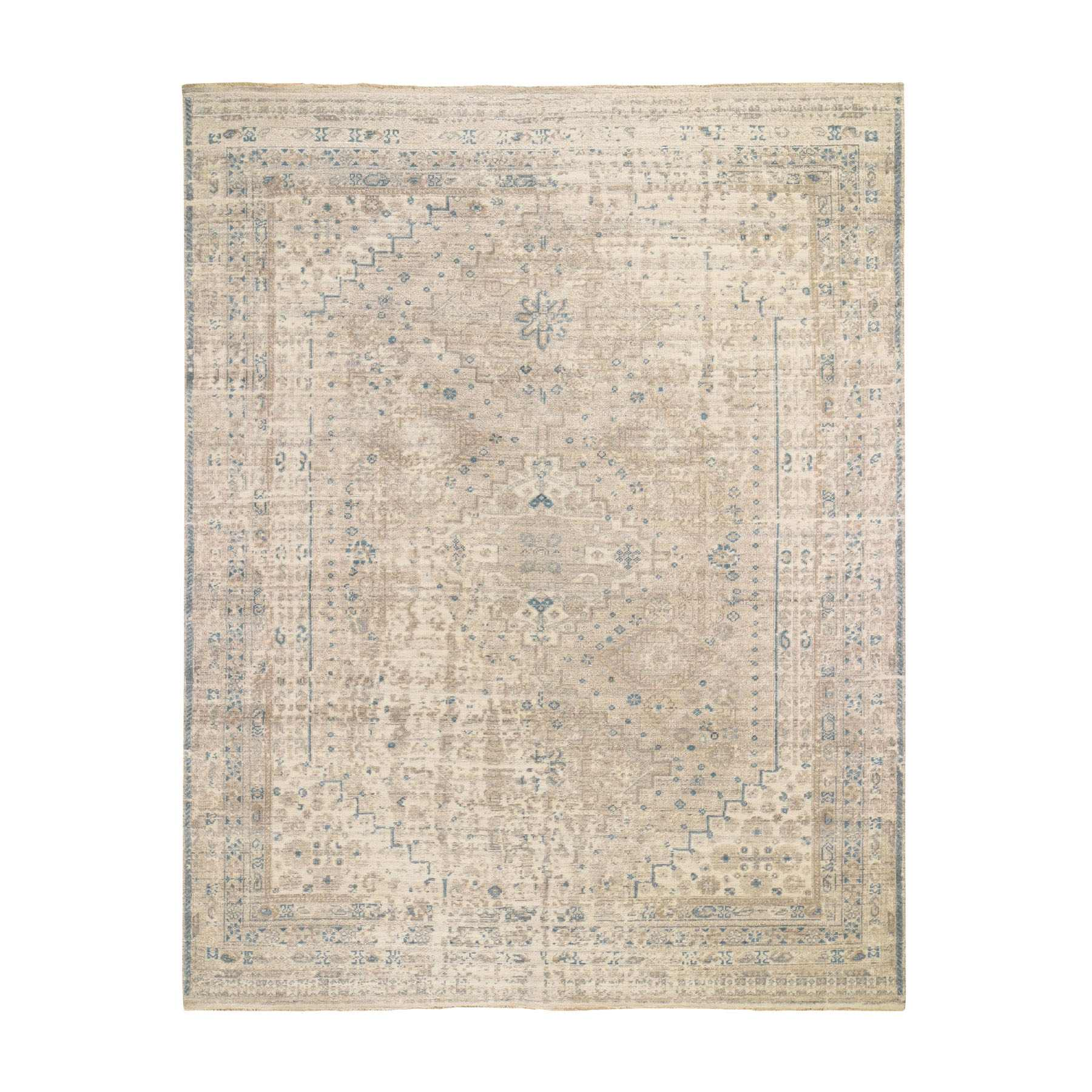 "8'2""x10'1"" Beige Erased And Distressed Shiraz Pure Wool Hand Knotted Oriental Rug"
