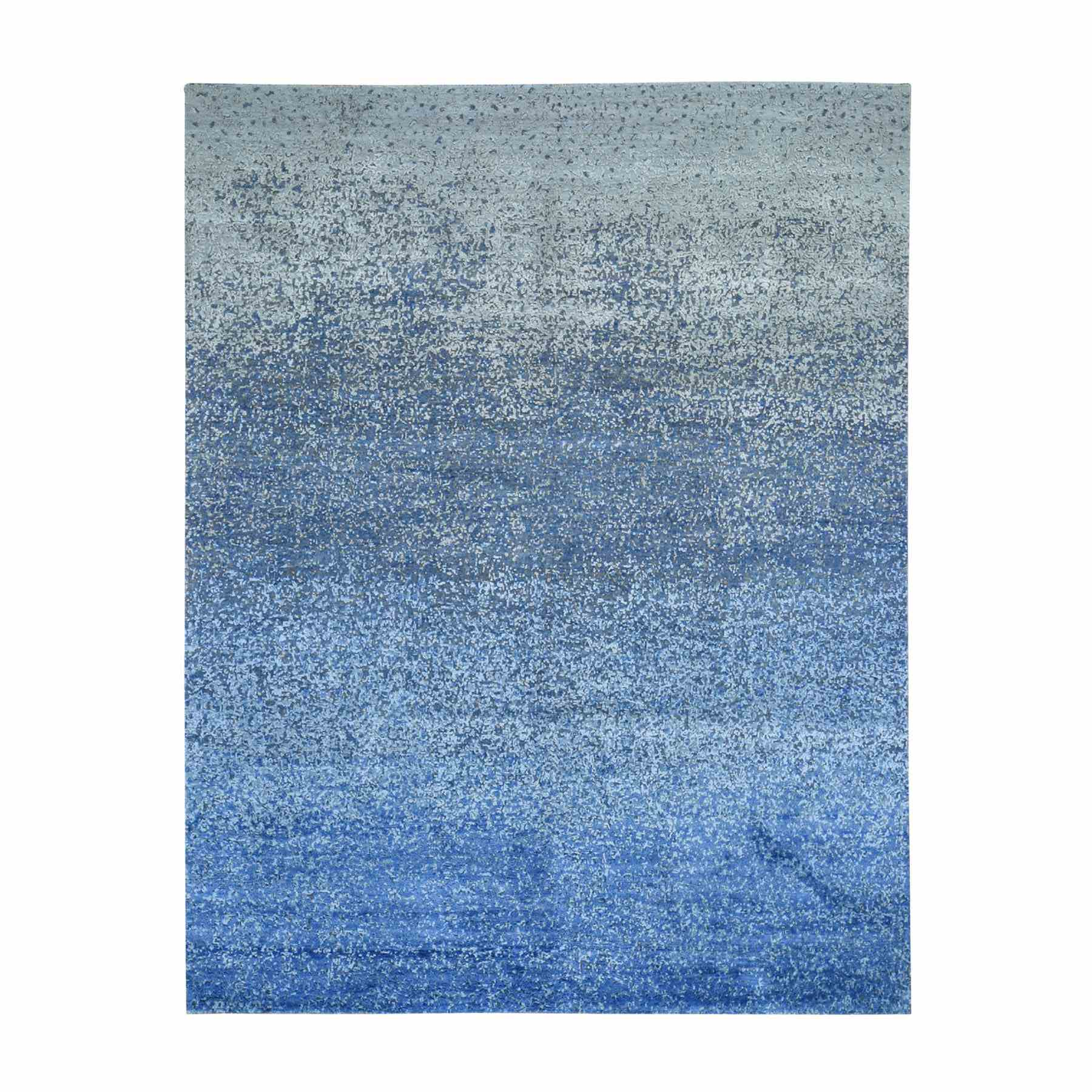 """8'x10'1"""" The Blue Transformation Pure Silk With Wool Hand Knotted Oriental Rug 47742"""