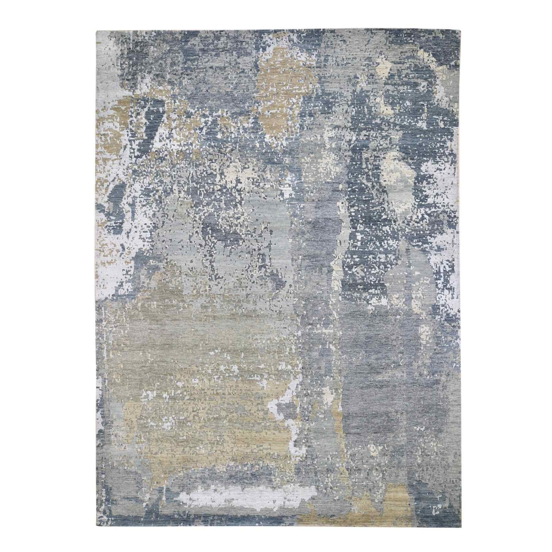 """8'9""""x12'3"""" Gray Abstract Design Denser Weave Wool and Silk Hi-Low Pile Hand Knotted Oriental Rug"""