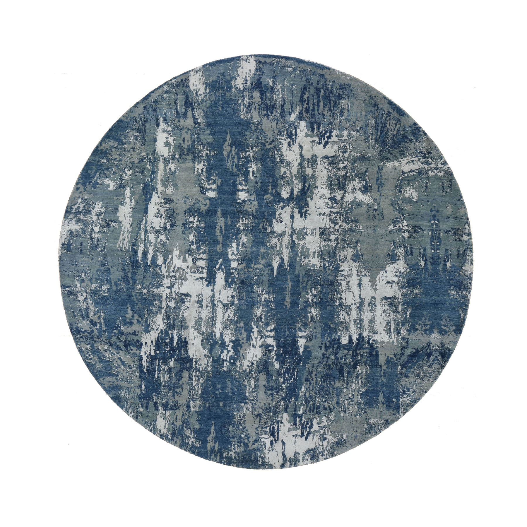 "8'1""x8'1"" Blue Abstract Design Wool and Pure Silk Hand Knotted Round Oriental Rug"