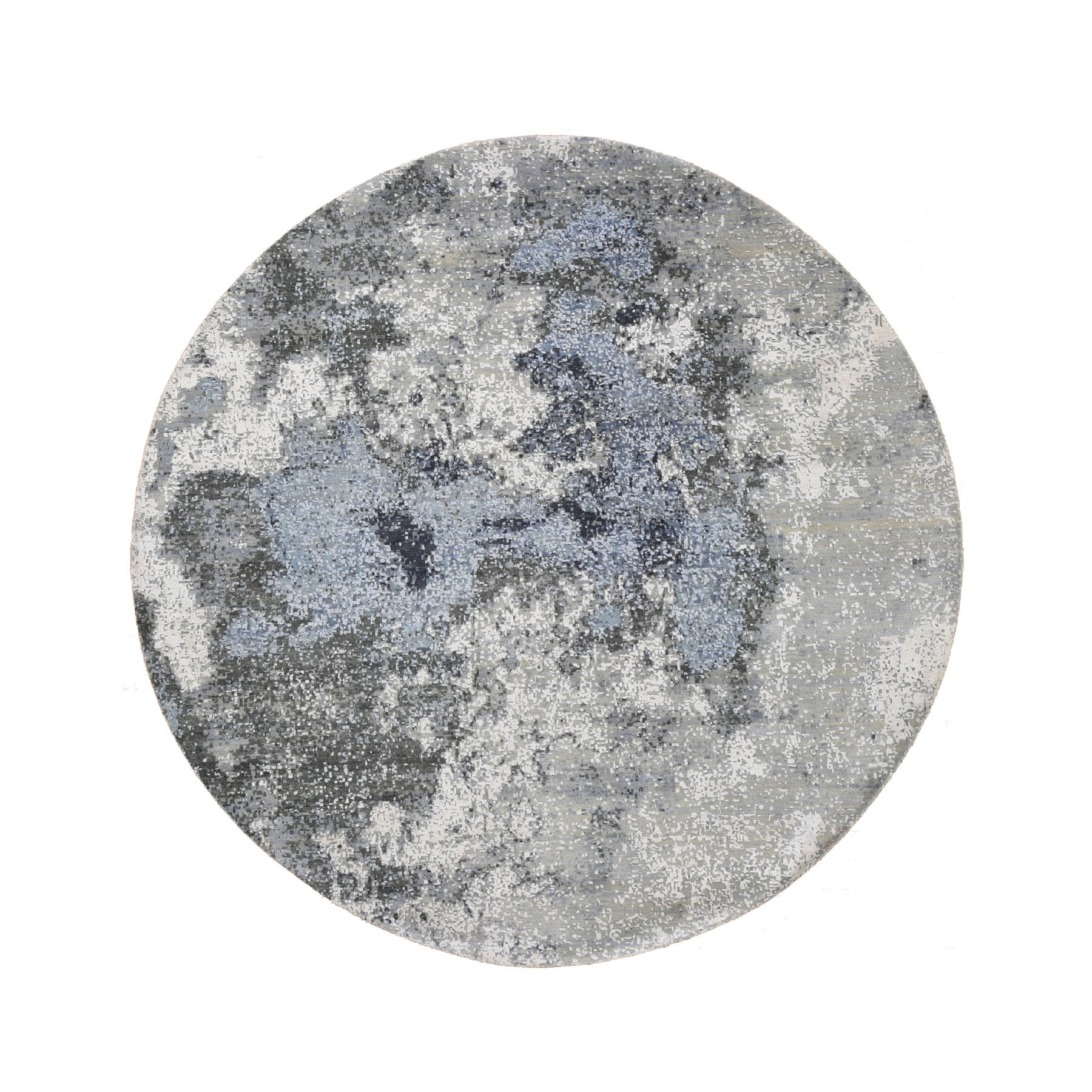 8'x8' Gray Abstract Design Wool And Pure Silk Hand Knotted Round Oriental Rug
