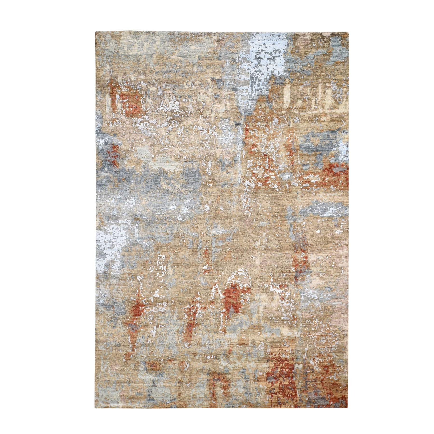 """6'2""""X9' Red Abstract Design Wool And Silk Hi-Low Pile Denser Weave Hand Knotted Oriental Rug moad776a"""