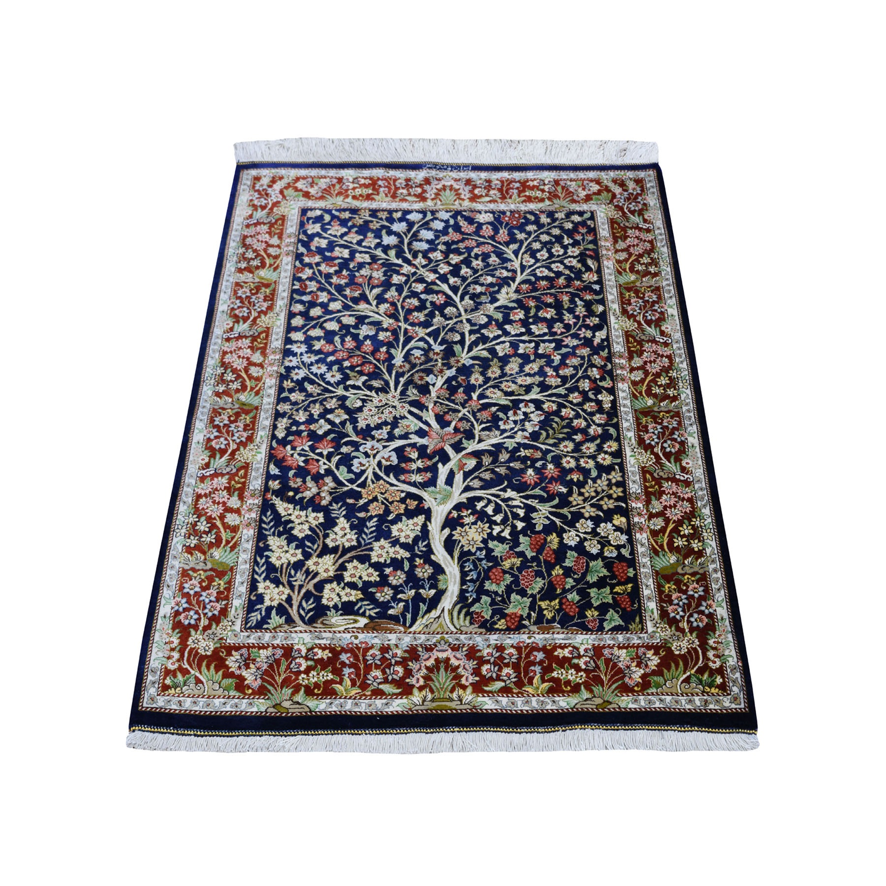 "2'7""x4' Navy Blue Pure Silk Persian Qum Signed 600 KPSI Tree Of Life Hand Knotted Oriental Rug"