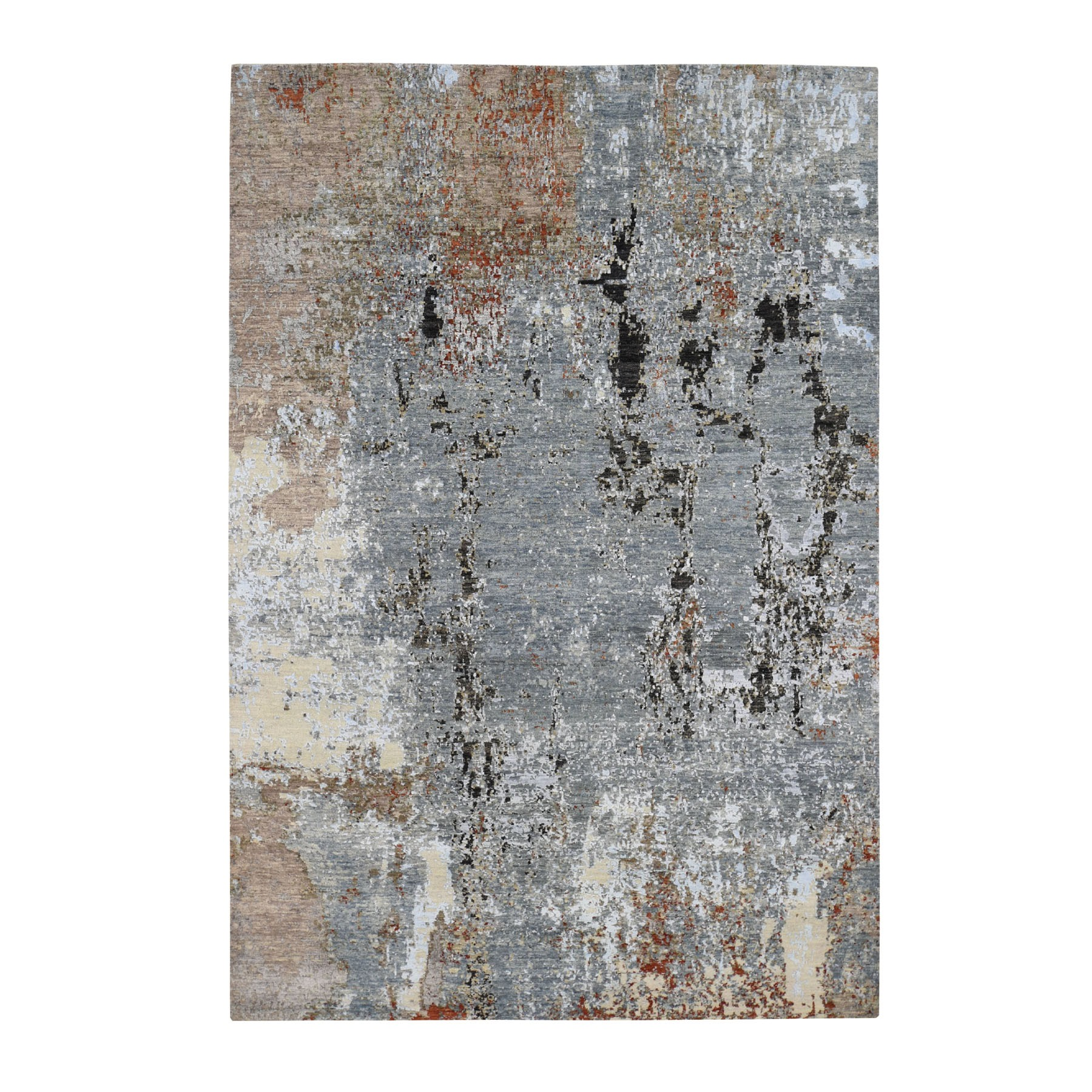 "6'X9'2"" Gray Abstract Design Wool And Silk Hi-Low Pile Denser Weave Hand Knotted Oriental Rug moad7766"