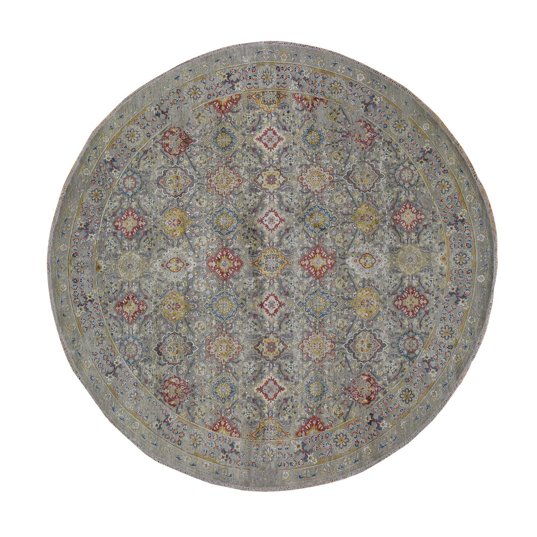 "11'8""x11'8"" THE SUNSET ROSETTES Pure Silk and Wool Hand Knotted Oriental Round Rug"