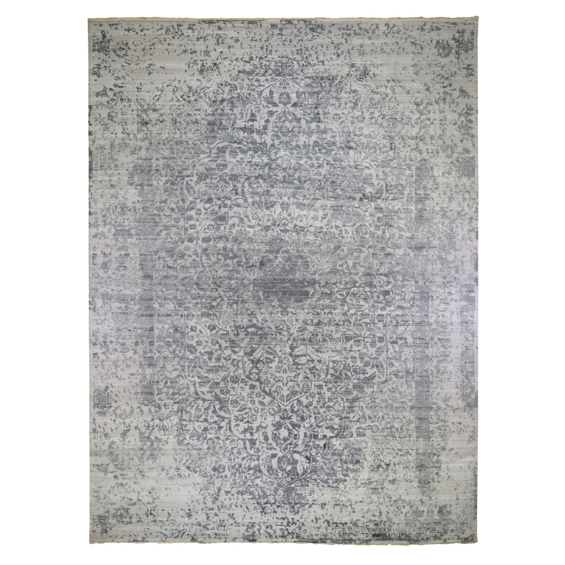 "12'x18'2"" Oversized Silver-Dark Gray Erased Persian Design Wool and Pure Silk Hand Knotted Oriental Rug"