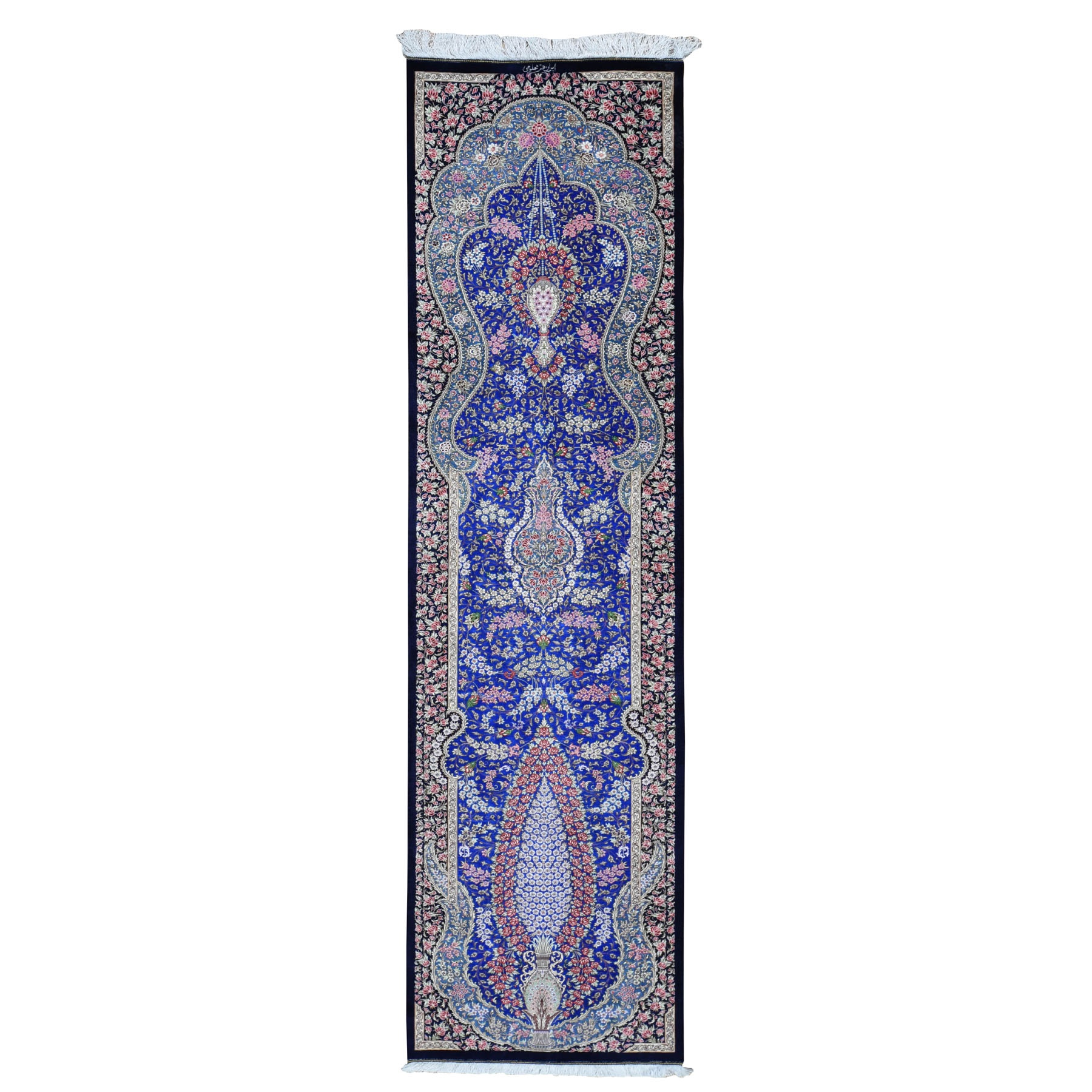 "2'5""X9'9"" Blue Pure Silk Qum Persian Signed 600 Kpsihand Knotted Runner Oriental Rug moad7776"