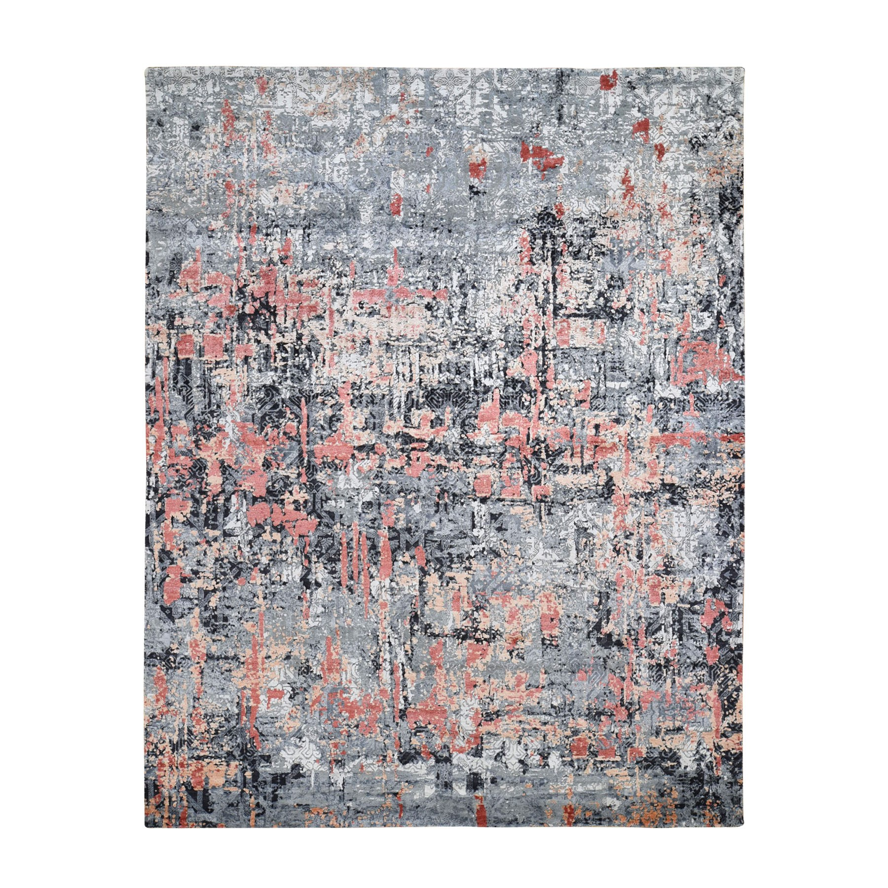 "7'9""X10'1"" Salmon Abstract Design Wool And Silk Hand Knotted Modern Rug moad7778"
