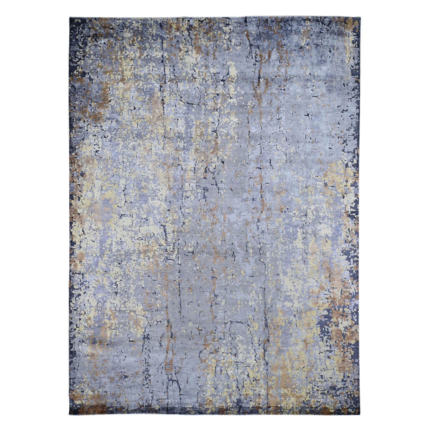"8'10""X12' Light Blueabstract Design Wool And Silk Hi-Low Pile Hand Knotted Oriental Rug moad7779"