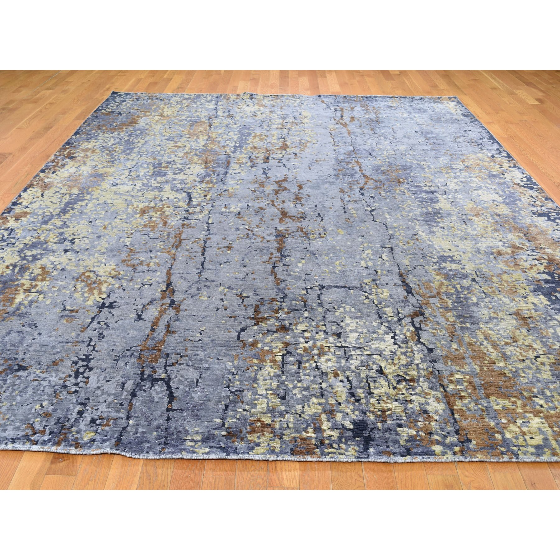 """8'10""""x12' Light BlueAbstract Design Wool and Silk Hi-Low Pile Hand Knotted Oriental Rug"""