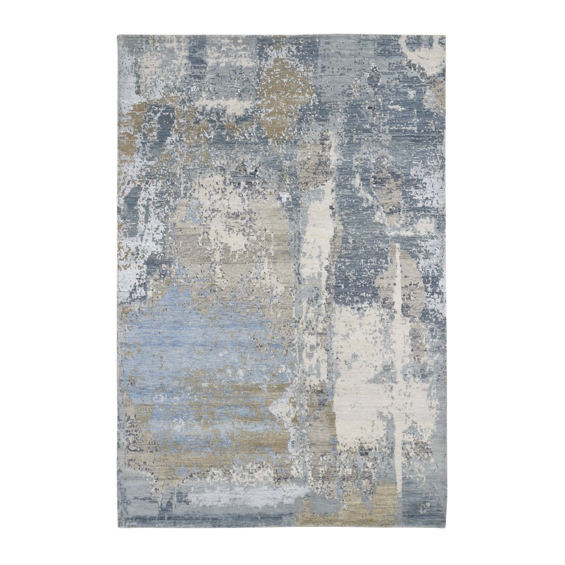 6'X9' Blue Abstract Design Wool And Silk Denser Weave Hand Knotted Modern Rug moad778b