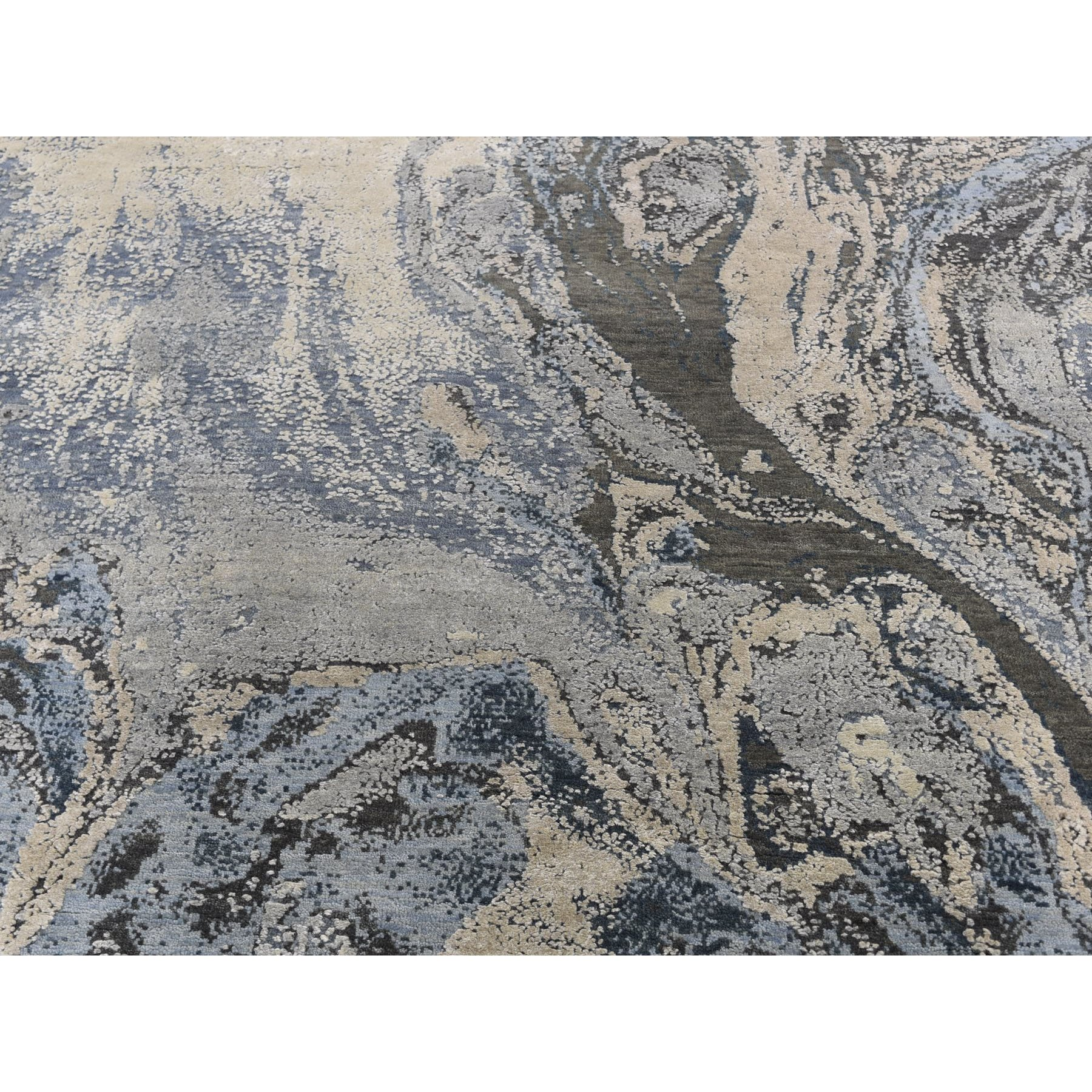 6-x9-2  Blue Geological Design Wool And Pure Silk Hand Knotted Oriental Rug