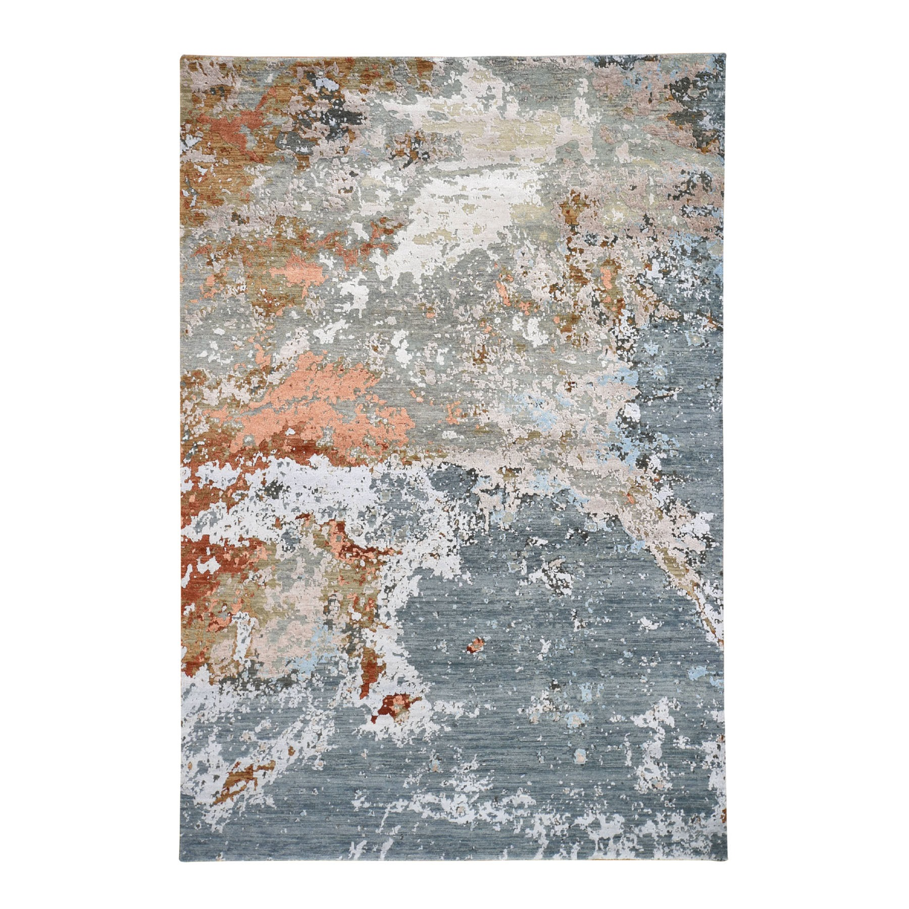 """6'1""""X9' Gray Abstract Design Wool And Silk Denser Weave Hi-Low Pile Hand Knotted Oriental Rug moad778d"""