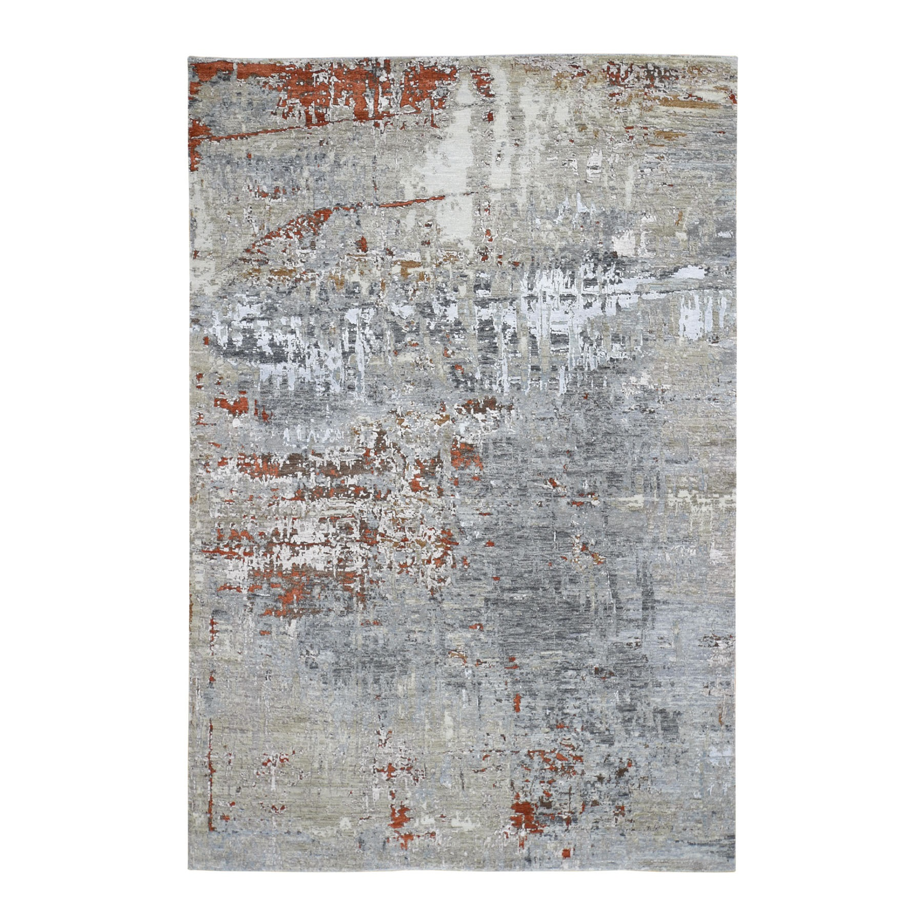 6'X9' Gray Abstract Design Wool And Silk Hi-Low Pile Denser Weave Hand Knotted Oriental Rug moad778e
