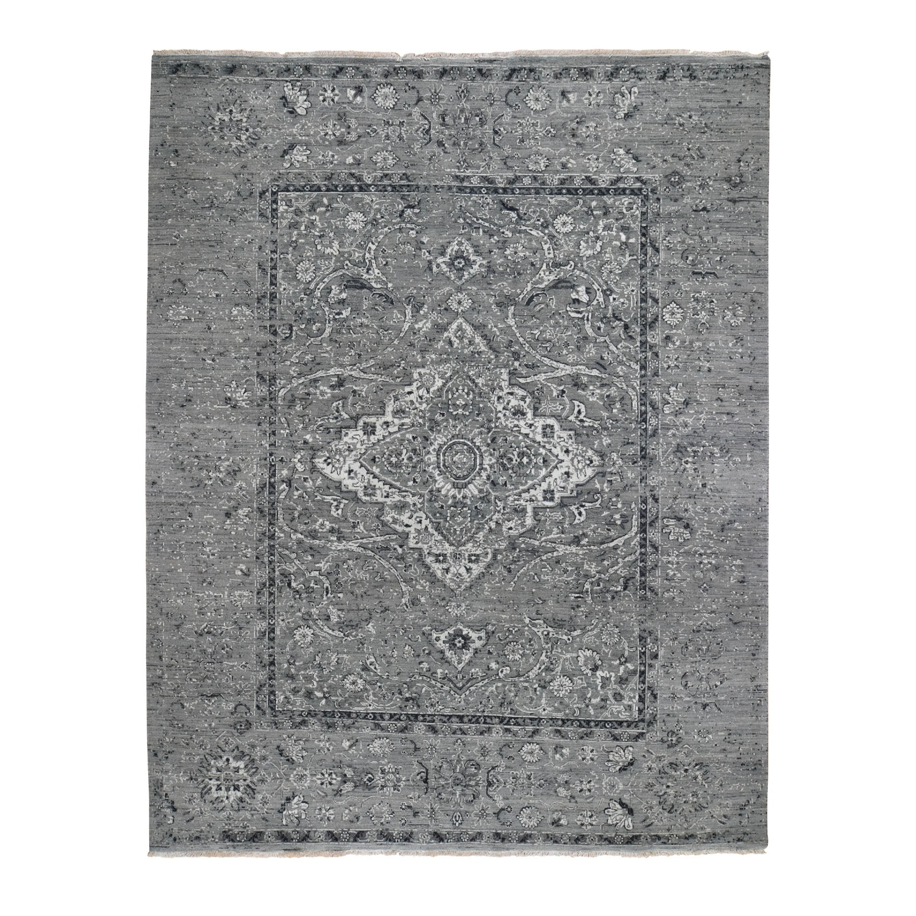 8'X10' Gray Broken Persian Erased Design Silk With Textured Wool Hand Knotted Oriental Rug moad7786