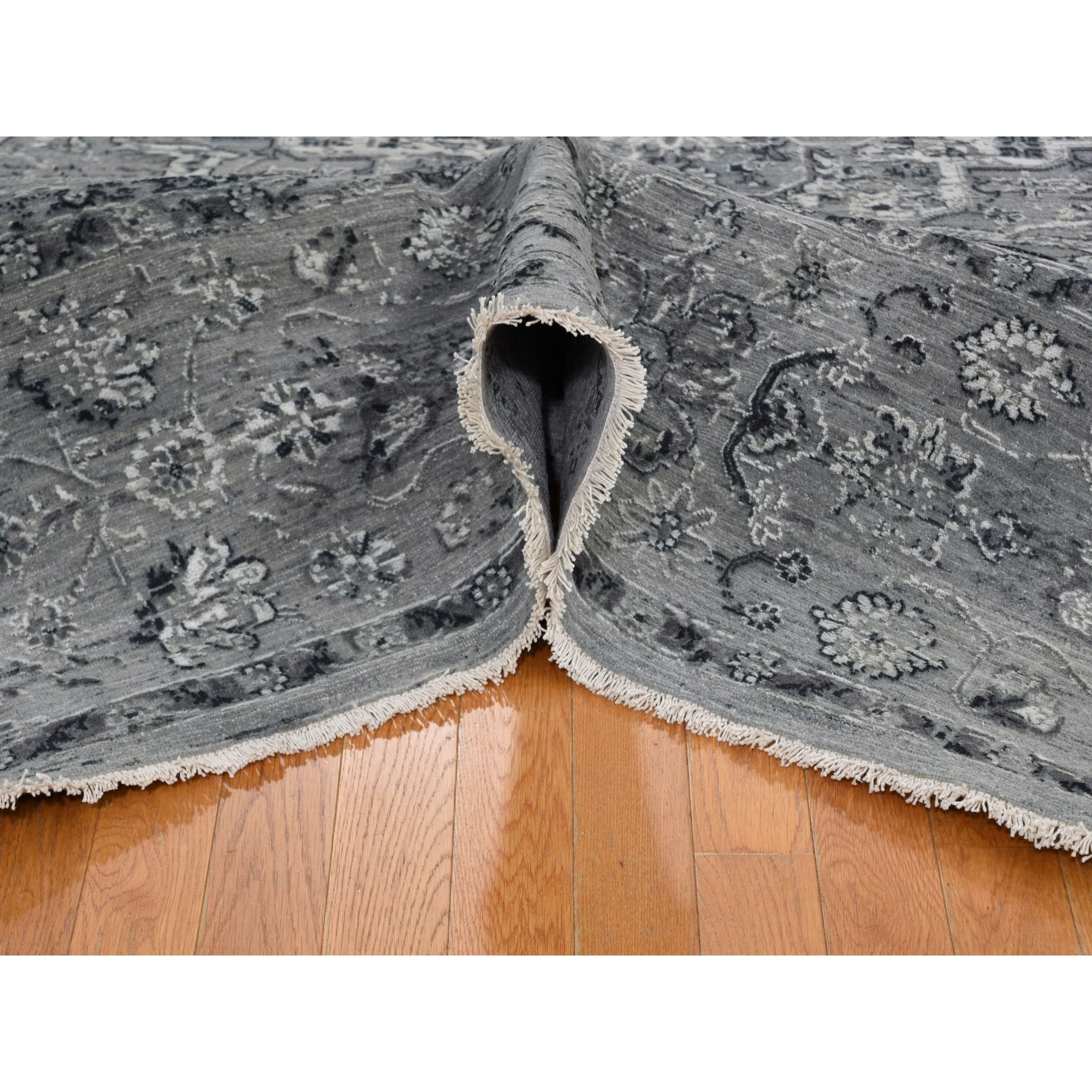 8-x10- Gray Broken Persian Erased Design Silk With Textured Wool Hand Knotted Oriental Rug