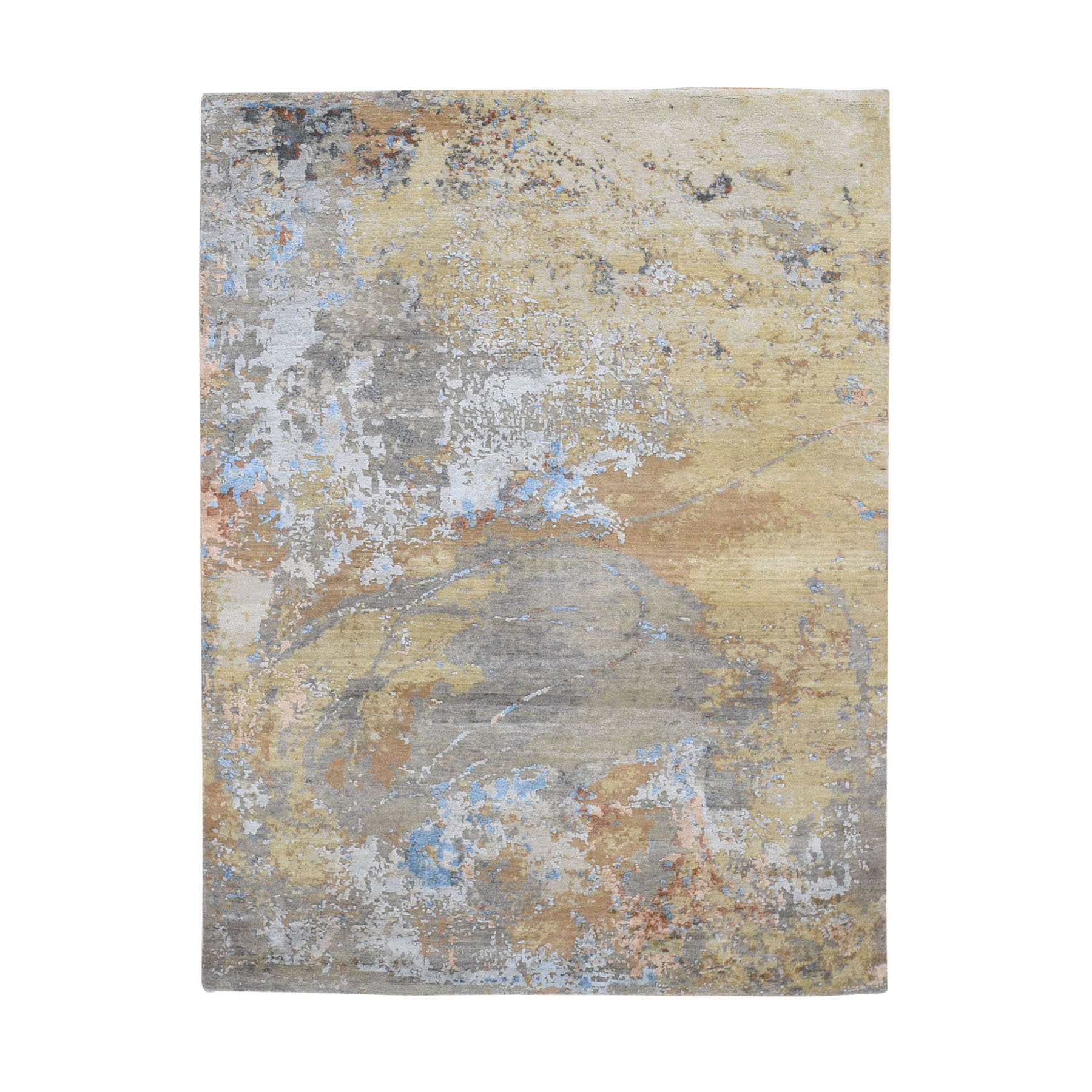 "5'1""x7' Honey Mustard Abstract Design Wool And Pure Silk Hand Knotted Oriental Rug"