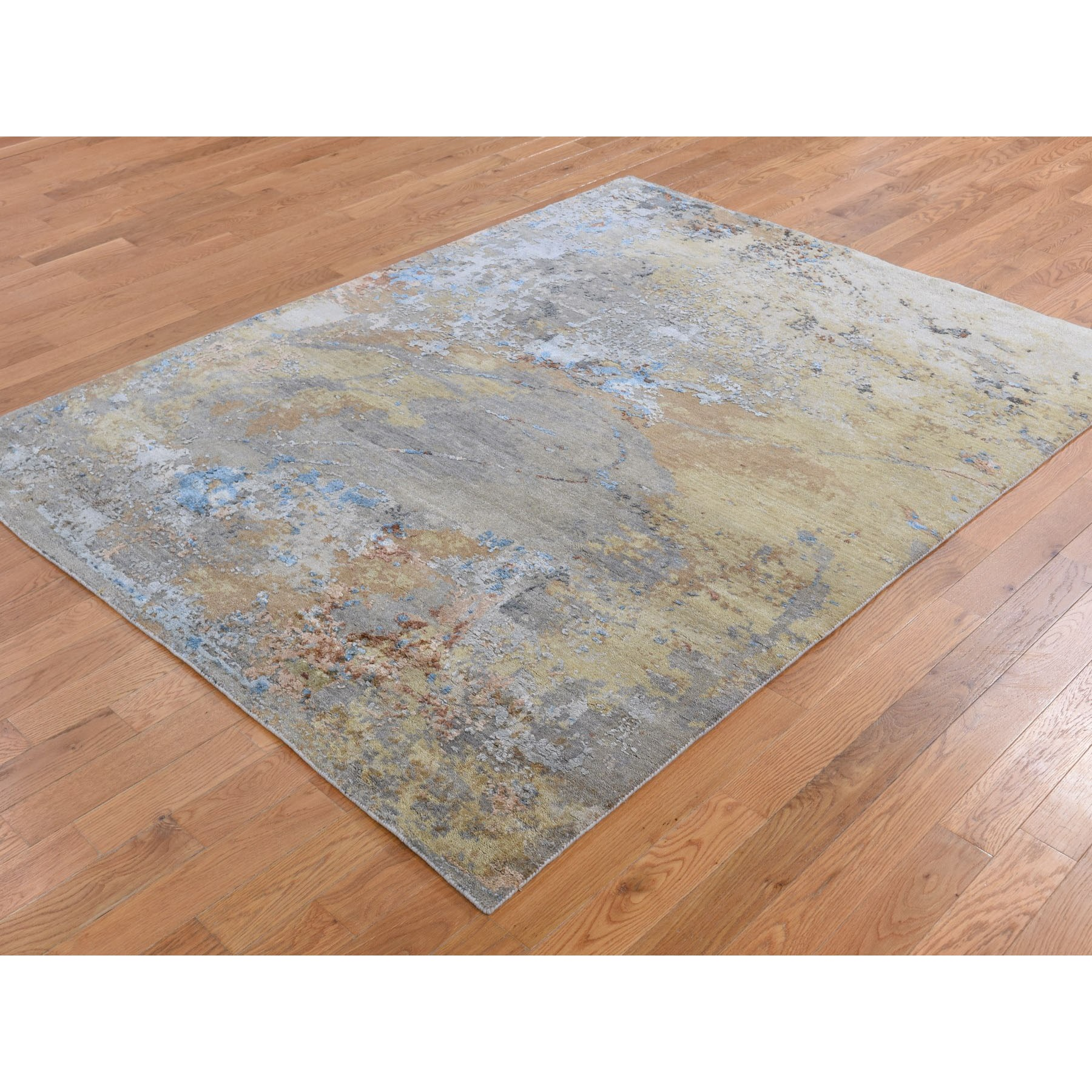 """5'1""""x7' Honey Mustard Abstract Design Wool And Pure Silk Hand Knotted Oriental Rug"""
