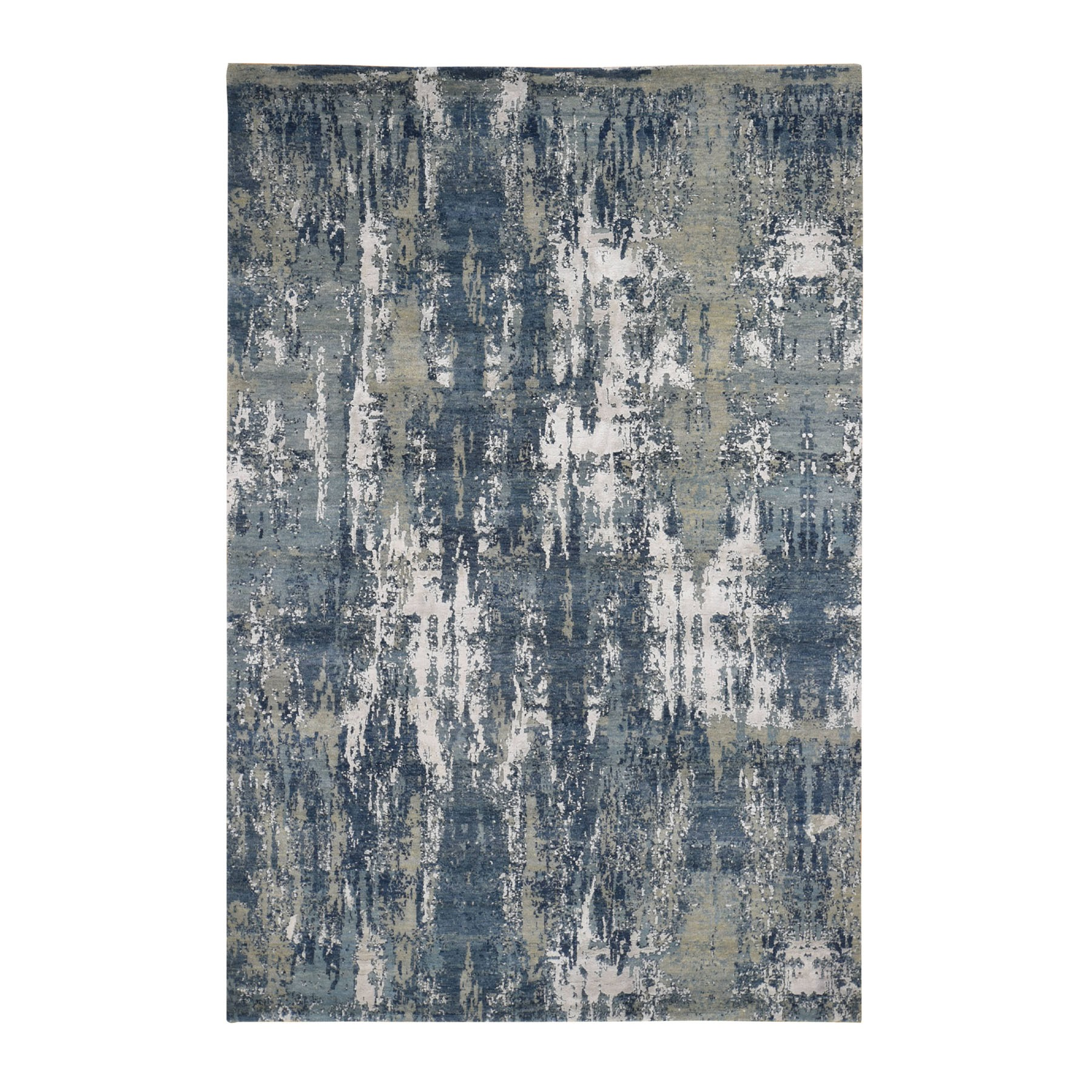 """6'x9'1"""" Blue Abstract Design Wool and Pure Silk Hand Knotted Oriental Rug"""