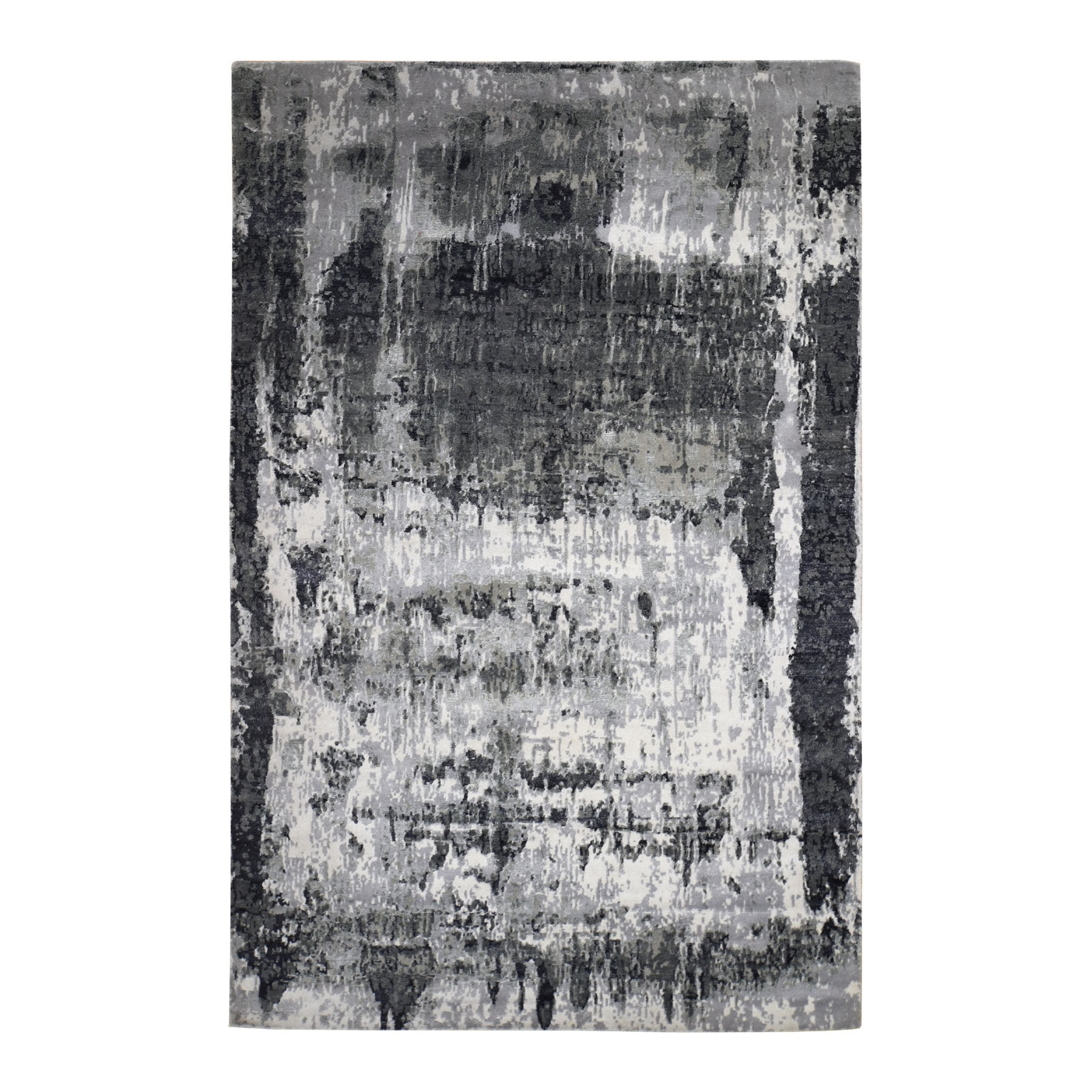 "6'1""X9'2"" Black Hi And Low Pile Wool And Silk Abstract Design Hand Knotted Rug moad779a"