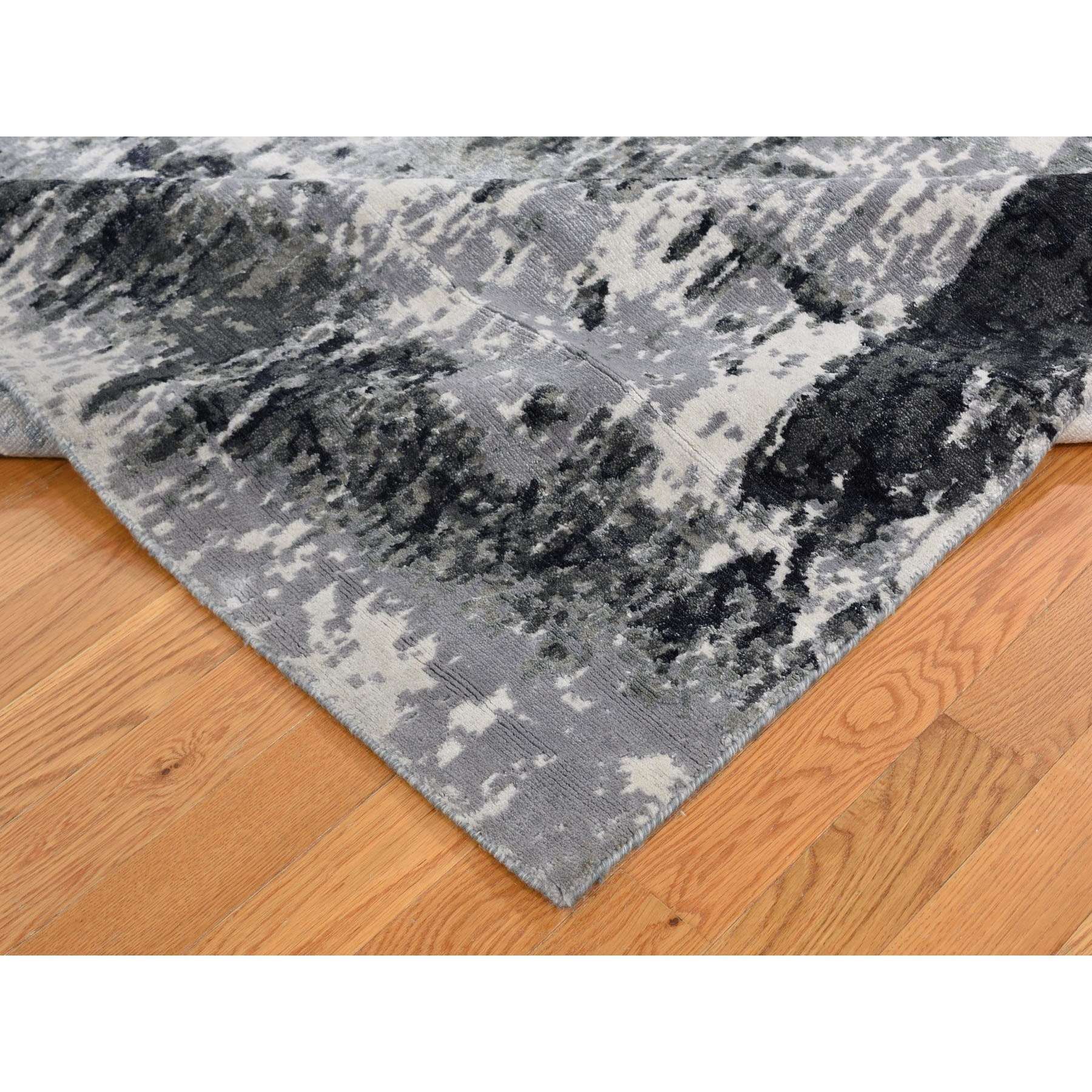 6-1 x9-2  Black Hi And Low Pile Wool And Silk Abstract Design Hand Knotted Rug
