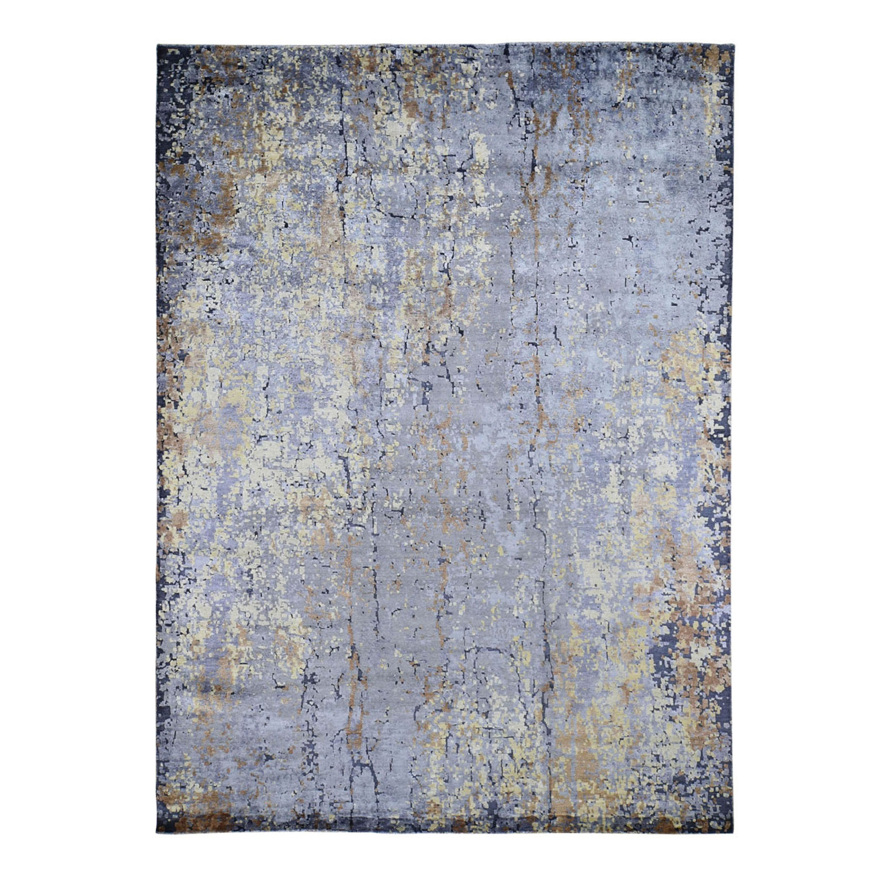 "9'x11'9"" Gray Abstract Design Wool and Silk Hi-Low Pile Hand Knotted Oriental Rug"