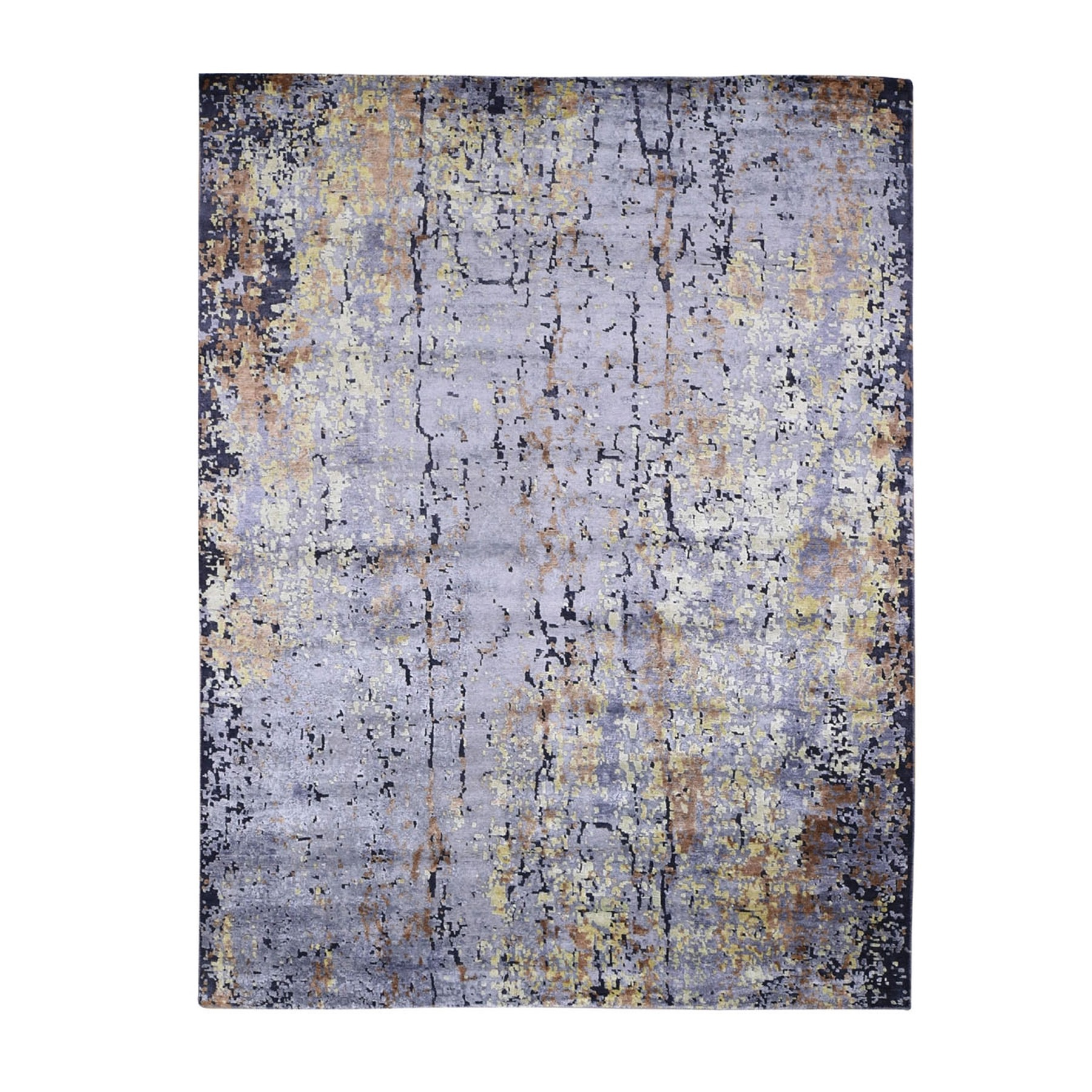 "7'10""X9'10"" Gray Abstract Design Wool And Silk Hi-Low Pile Hand Knotted Oriental Rug moad779c"