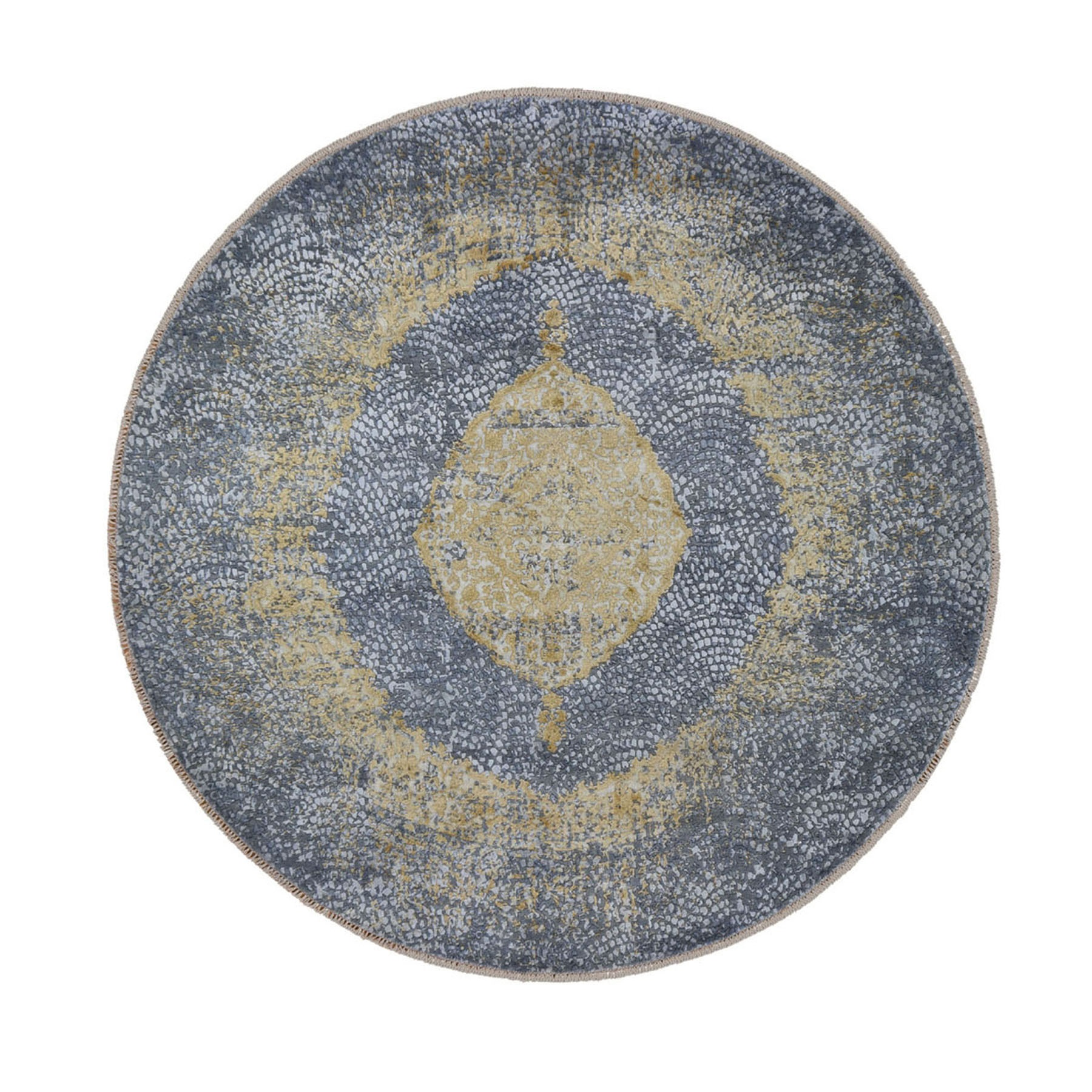 "9'10""X9'10"" Round Gold Persian Design Wool And Pure Silk Hand Knotted Oriental Rug moad7796"