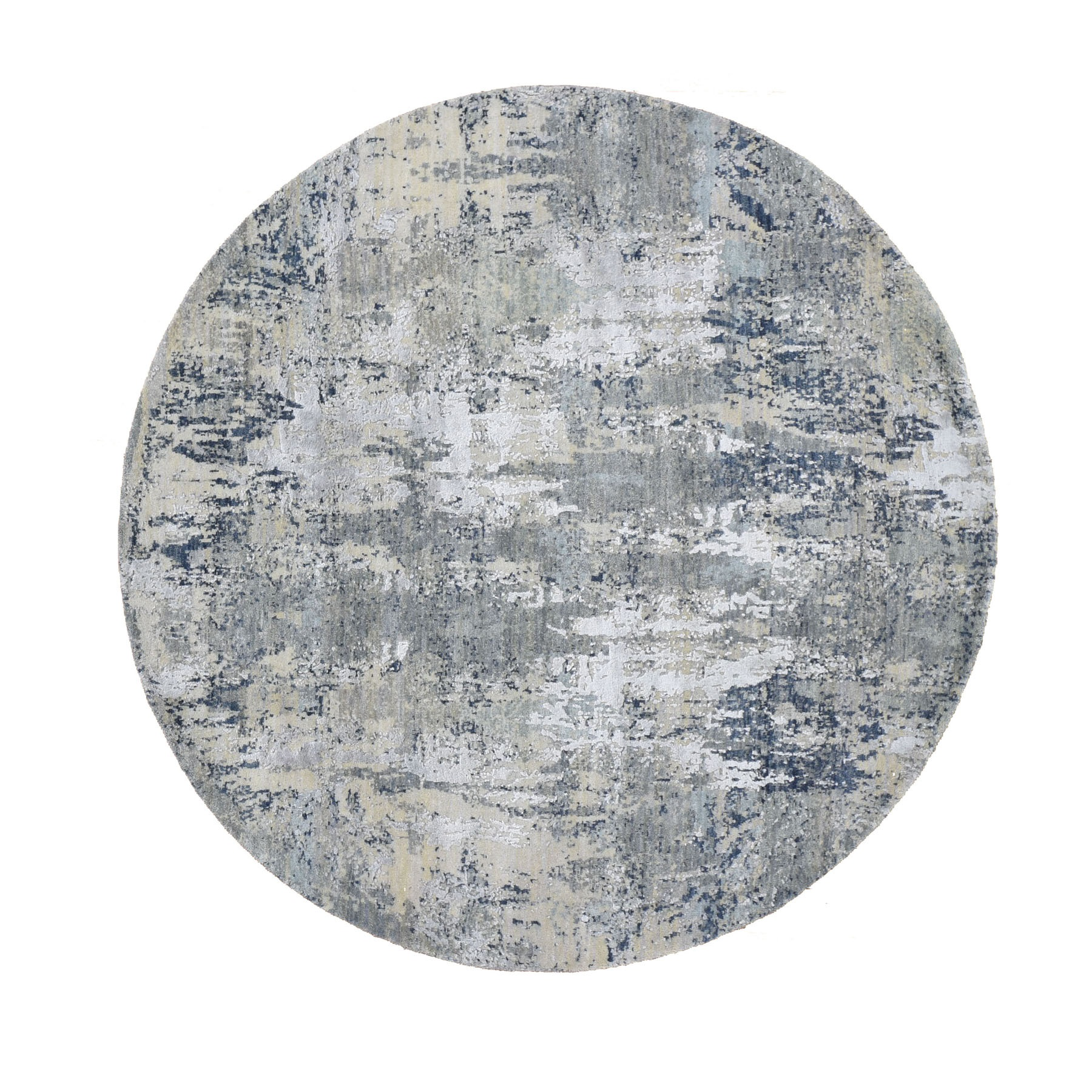 6'x6' Gray Abstract Design Wool And Pure Silk Hand Knotted Round Oriental Rug
