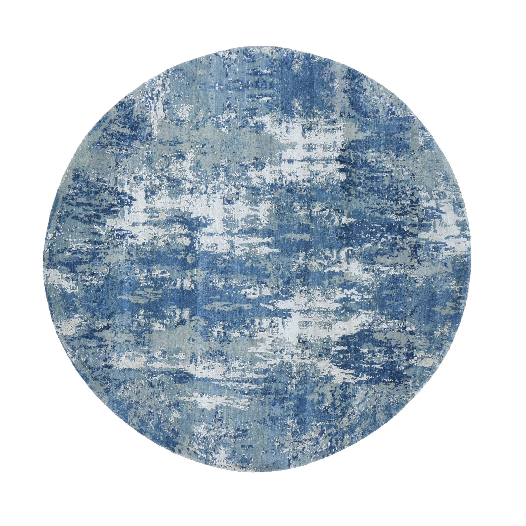 "6'2""x6'2"" Blue Abstract Design Wool and Pure Silk Hand Knotted Round Oriental Rug"