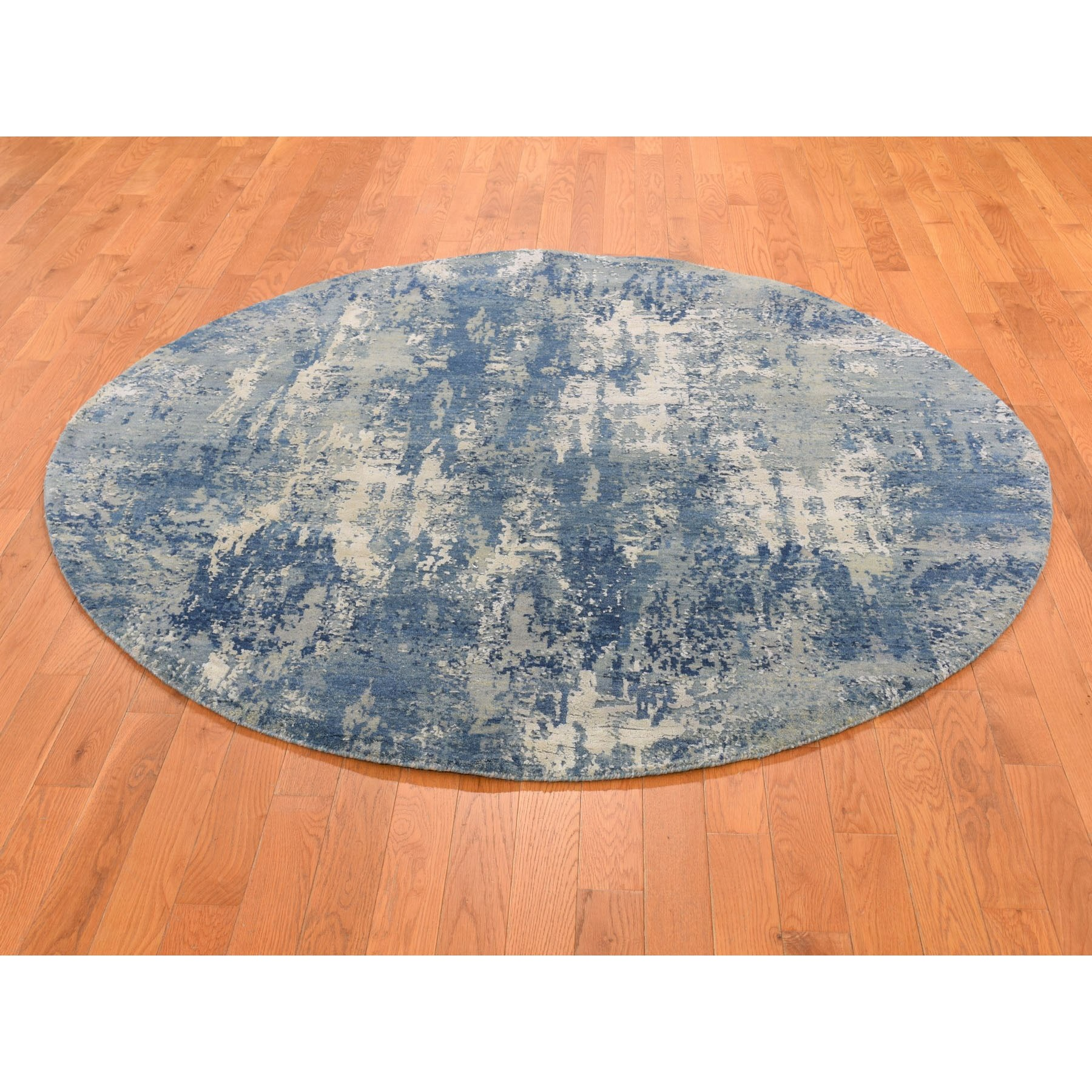 6-2 x6-2  Blue Abstract Design Wool and Pure Silk Hand Knotted Round Oriental Rug