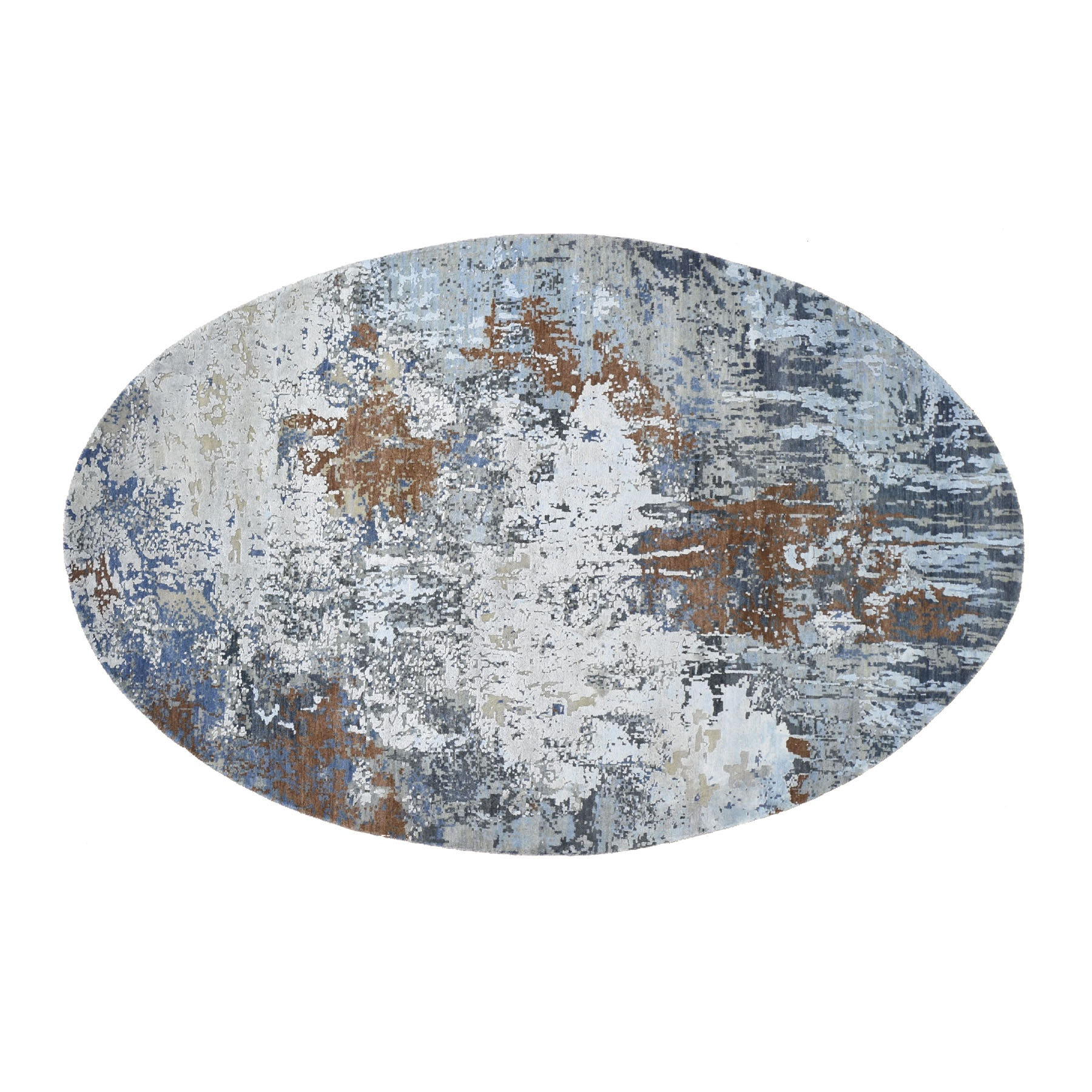 6'x9' Honey Brown Oval Abstract Design Wool And Pure Silk Hand Knotted Oriental Rug
