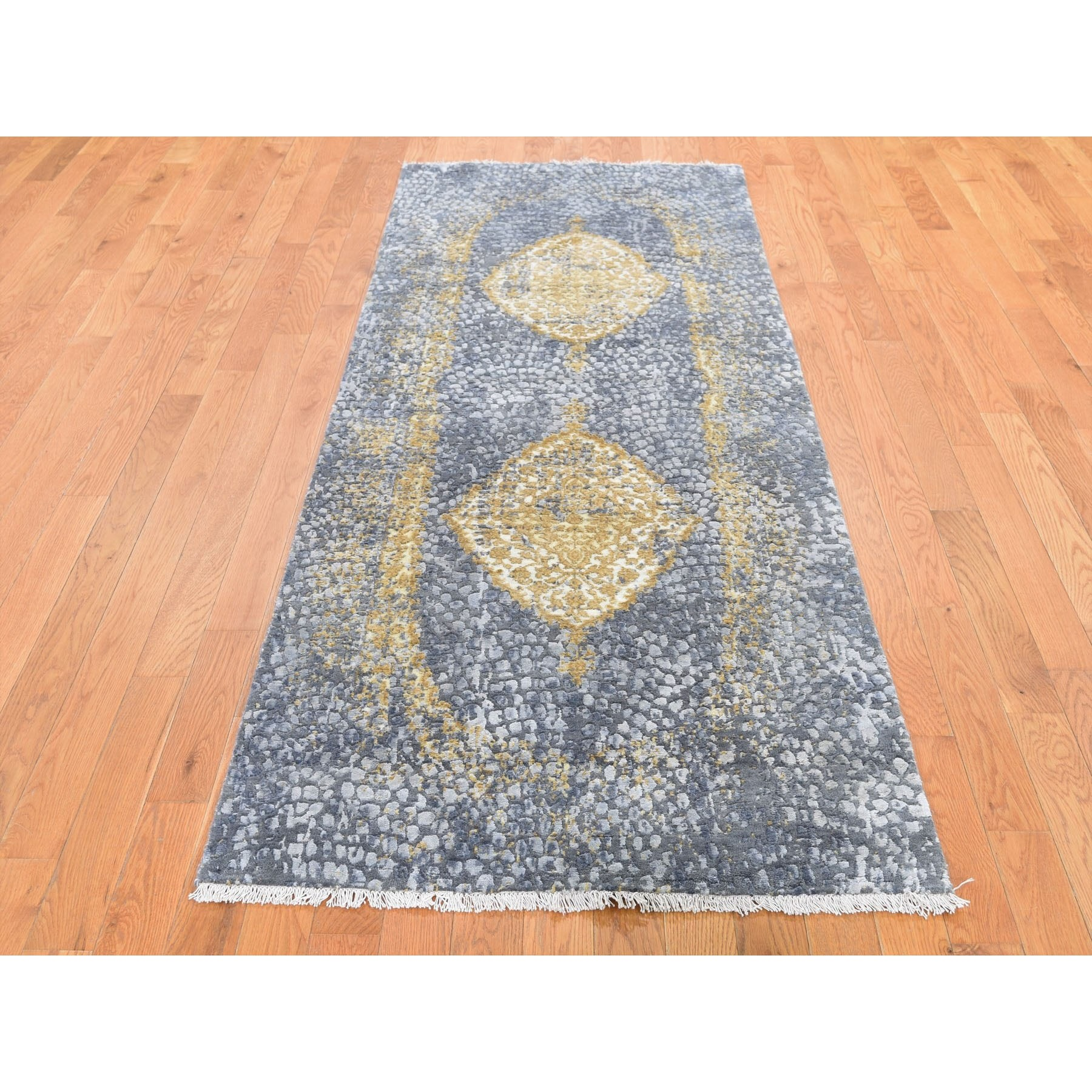 "3'2""x9'10"" Gold Persian Design Wool And Pure Silk Runner Hand Knotted Oriental Rug"