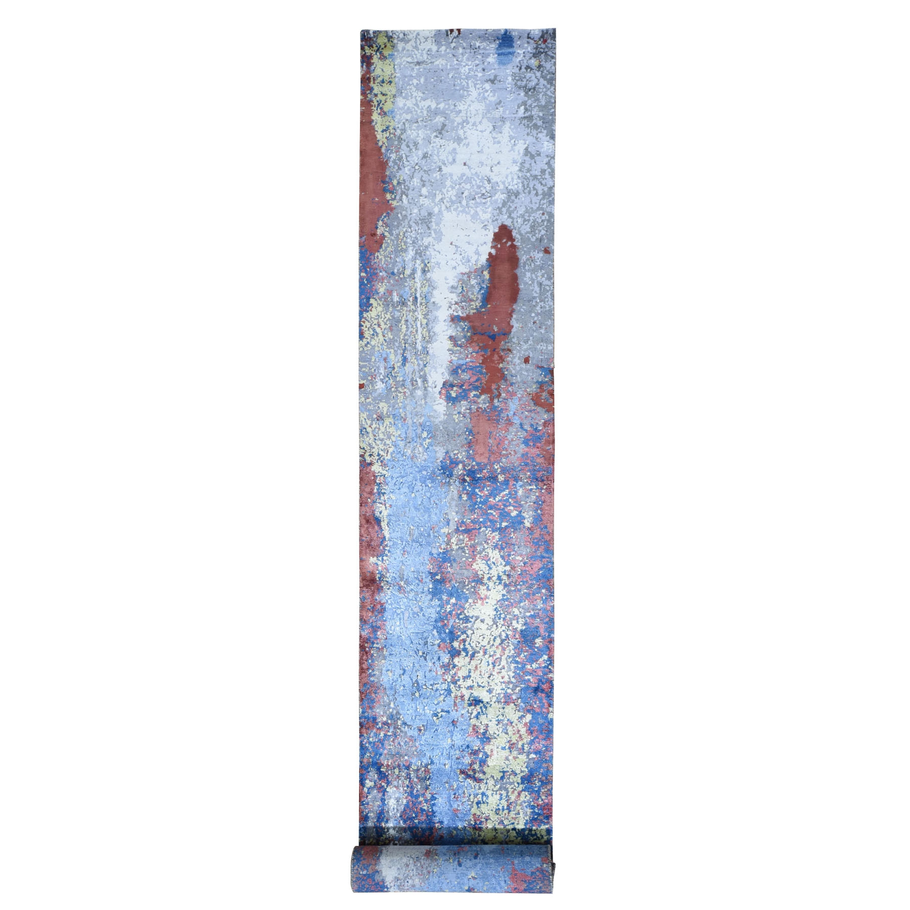 """2'8""""x19'6"""" Abstract Design Wool And Silk XL Runner Hand Knotted Oriental Rug"""